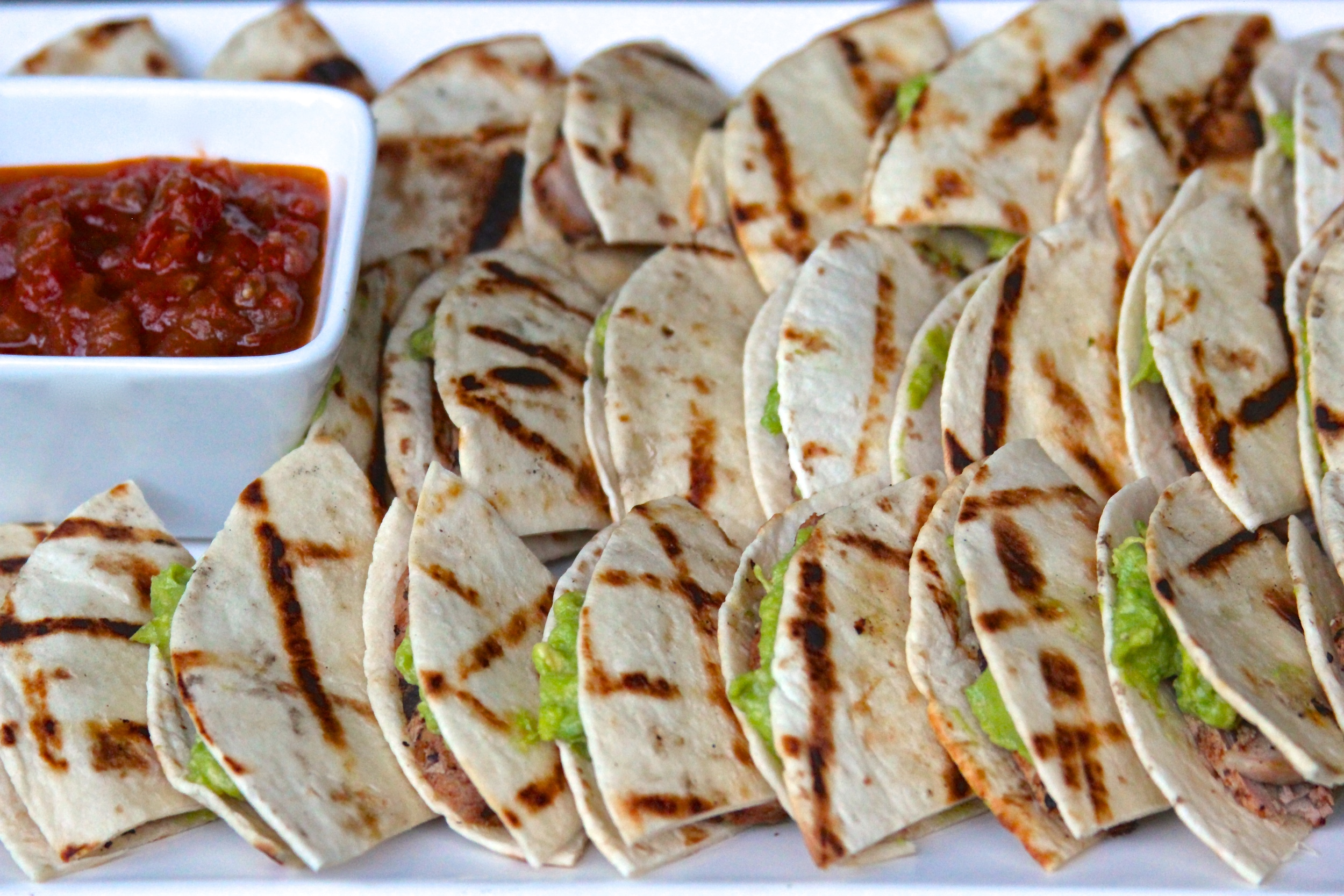 Grilled Pork Quesadilla Bites with Grilled Guacamole