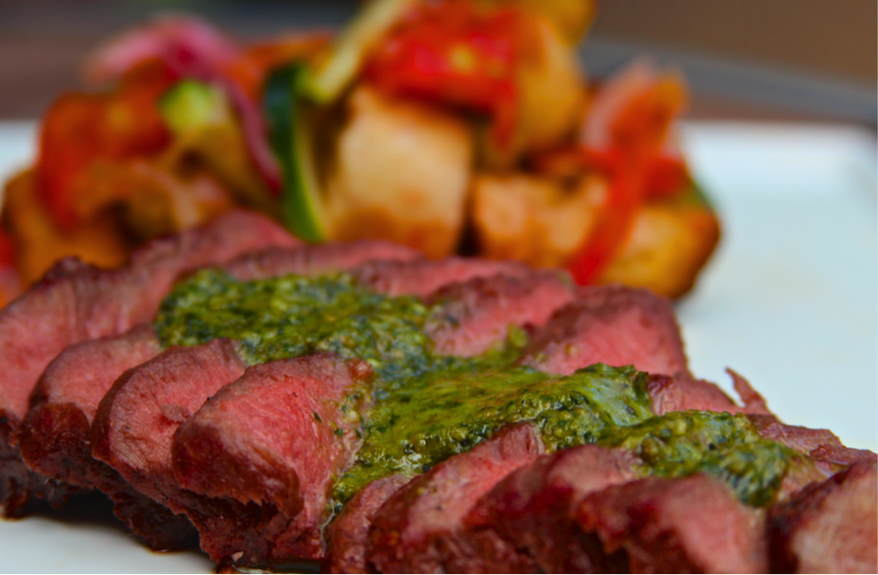Grilling Flat Iron Steaks with Pesto Butter