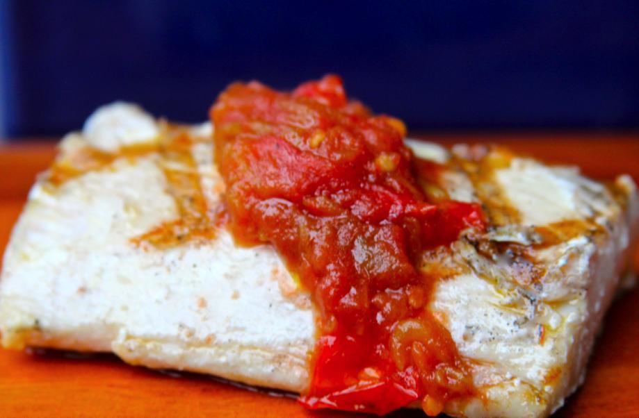 GRilled Mahi Mahi with Charred Tomato Relish