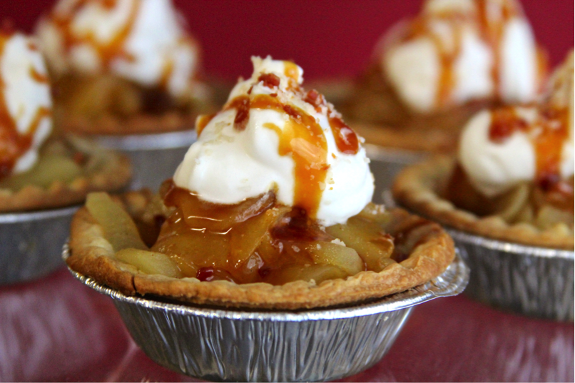 Grilled Apple Tarts with Smoked Bacon Salted Caramel