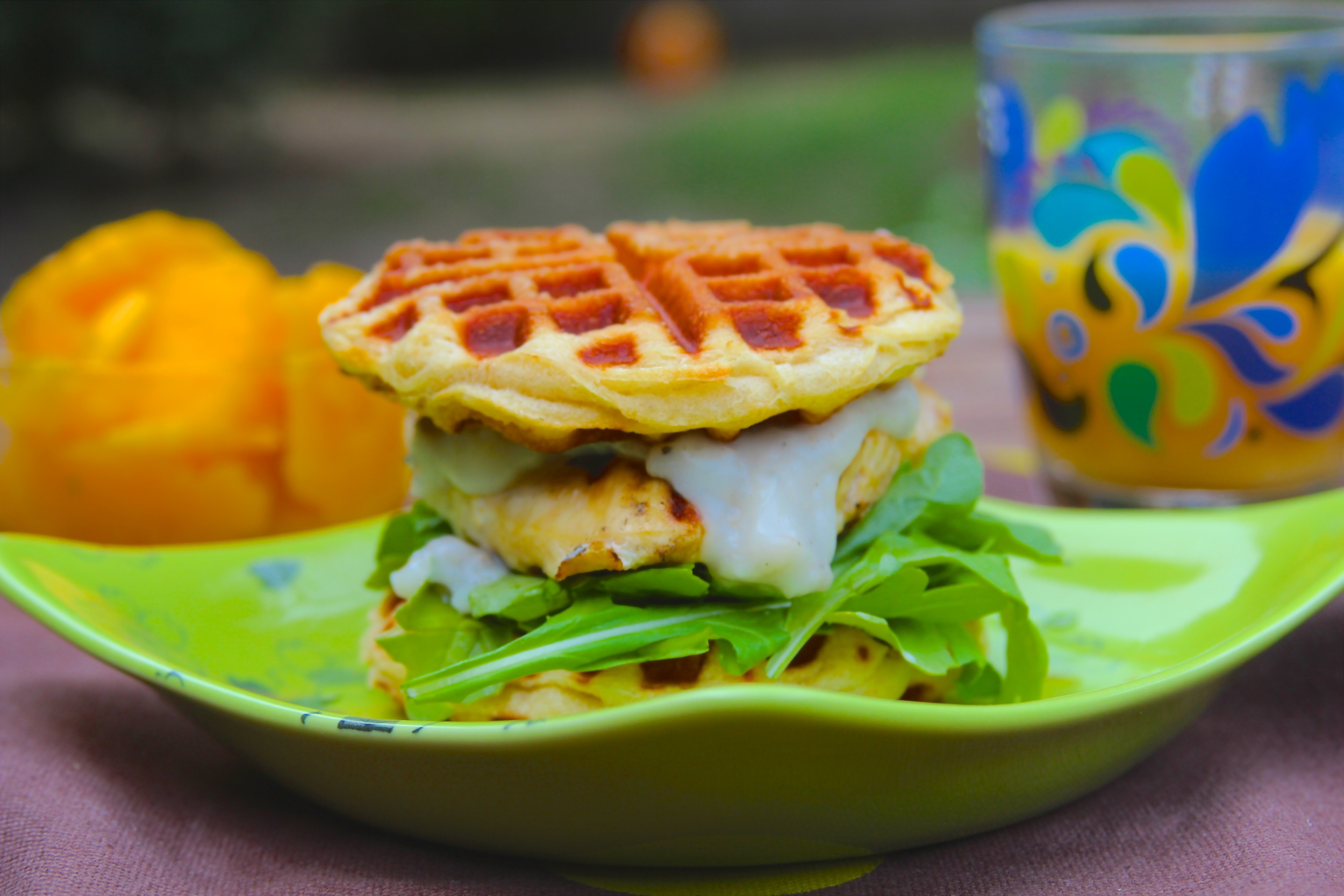 Grilled Sausage Waffle Biscuit Sandwich with White Sausage Gravy