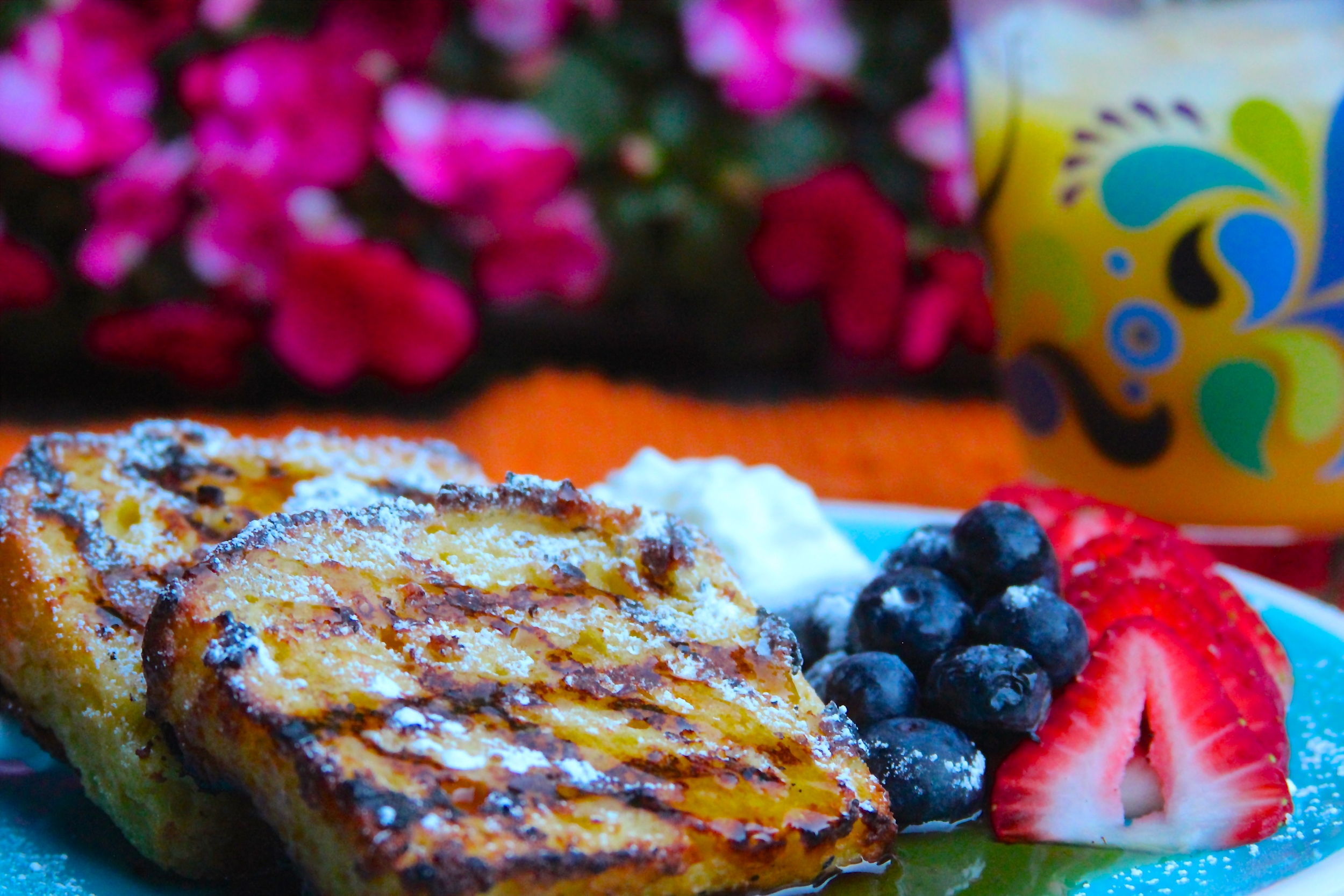 Grilled Lemon Pound Cake French Toast with Smoked Maple Syrup