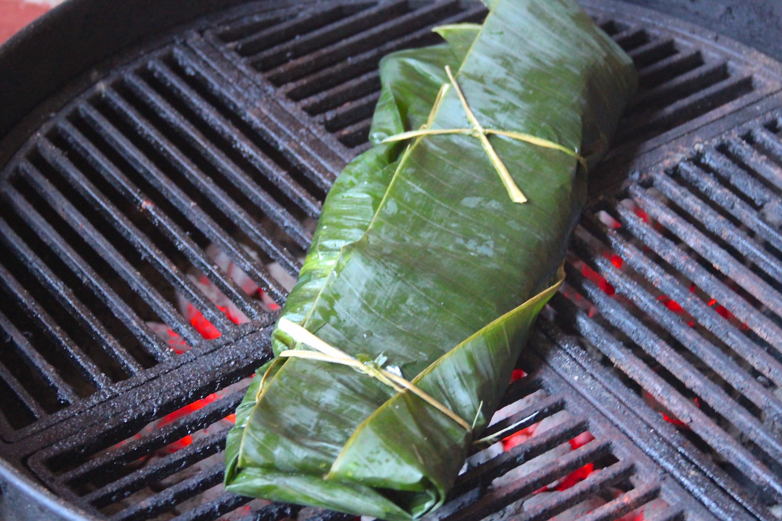 Grilling Banana Leaf Wrapped Salmon