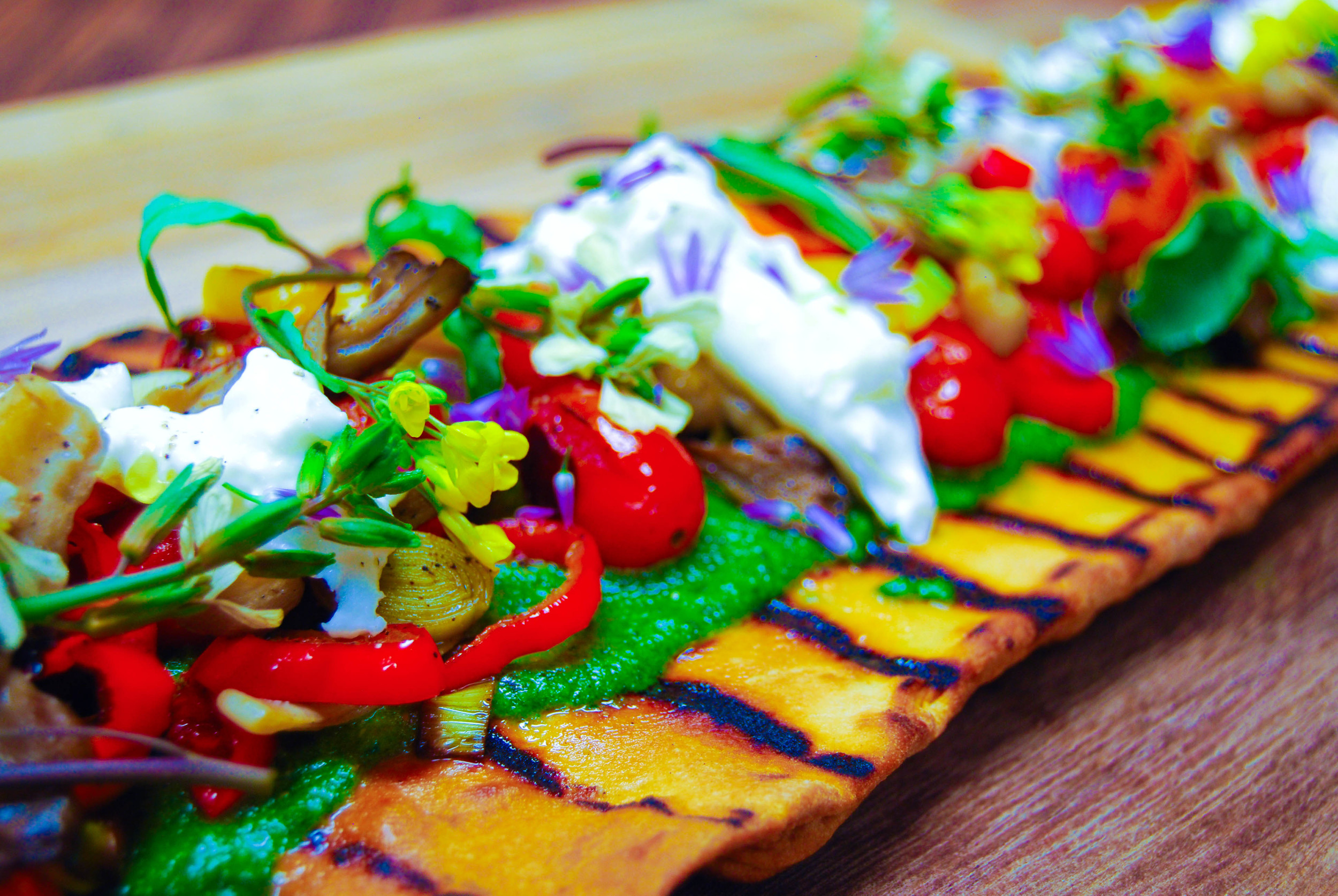 Grilled Vegetable Flatbread with Herbed Pistou and Burrata