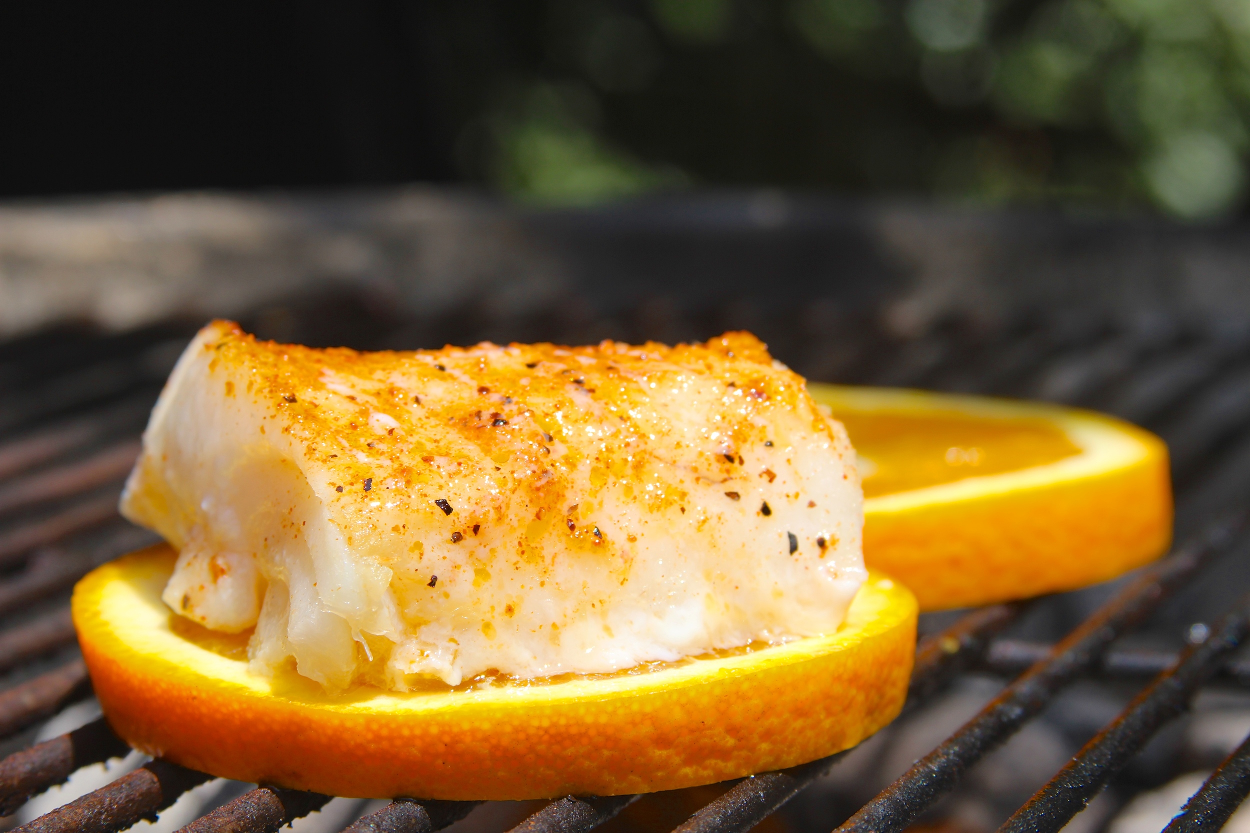 Grill fish on citrus slices