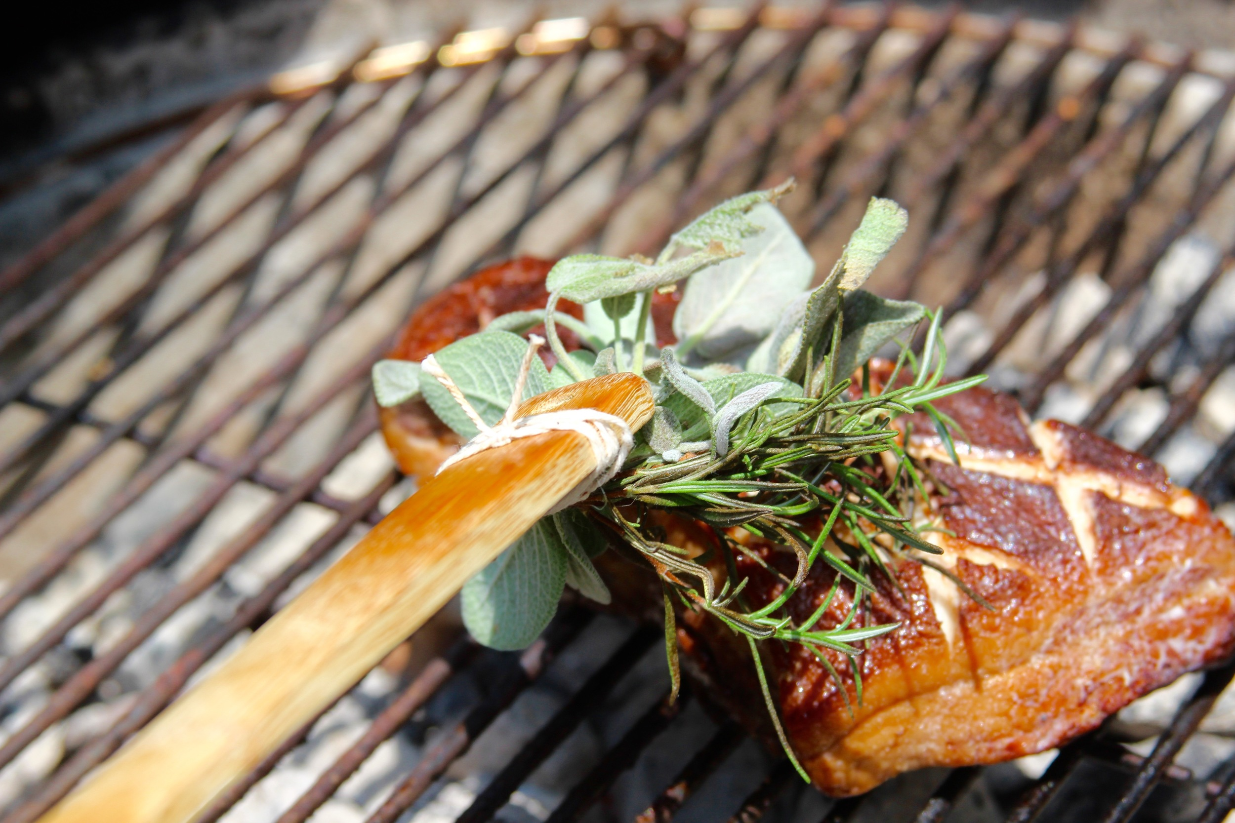 Create basting brush with fresh herbs