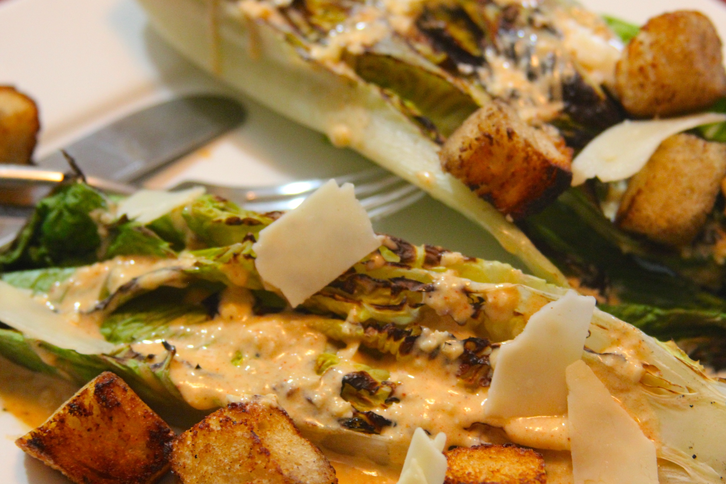 Grilled Hearts of Romaine with Smoky Caesar Dressing