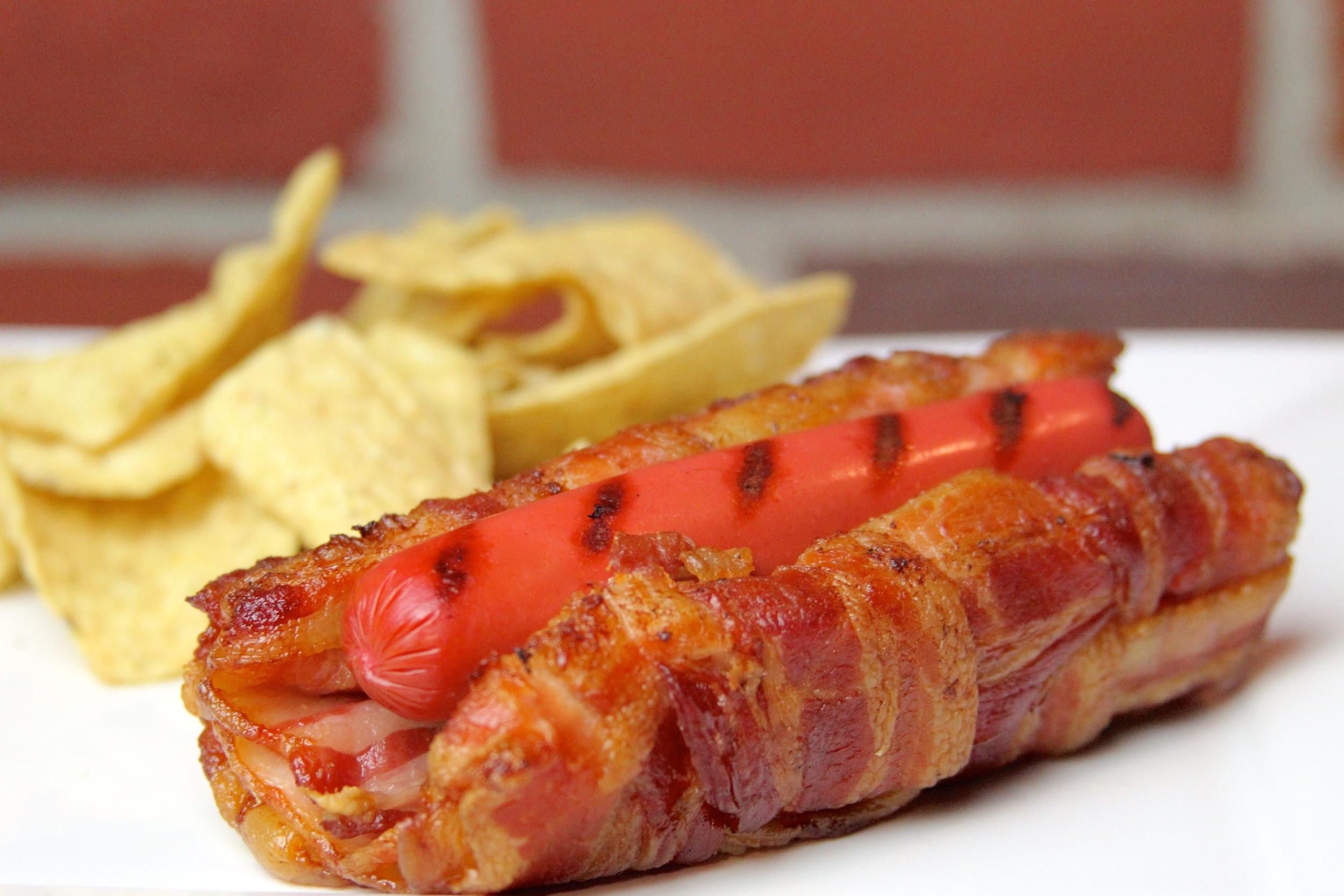100% Bacon Bun Hot Dog