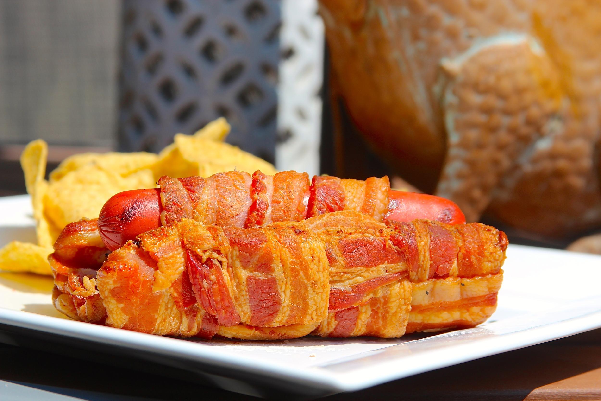 Bacon Wrapped Hot Dog with Bacon Bun