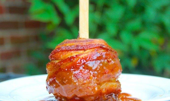 Smoked Bacon Wrapped Bourbon Caramel Apple