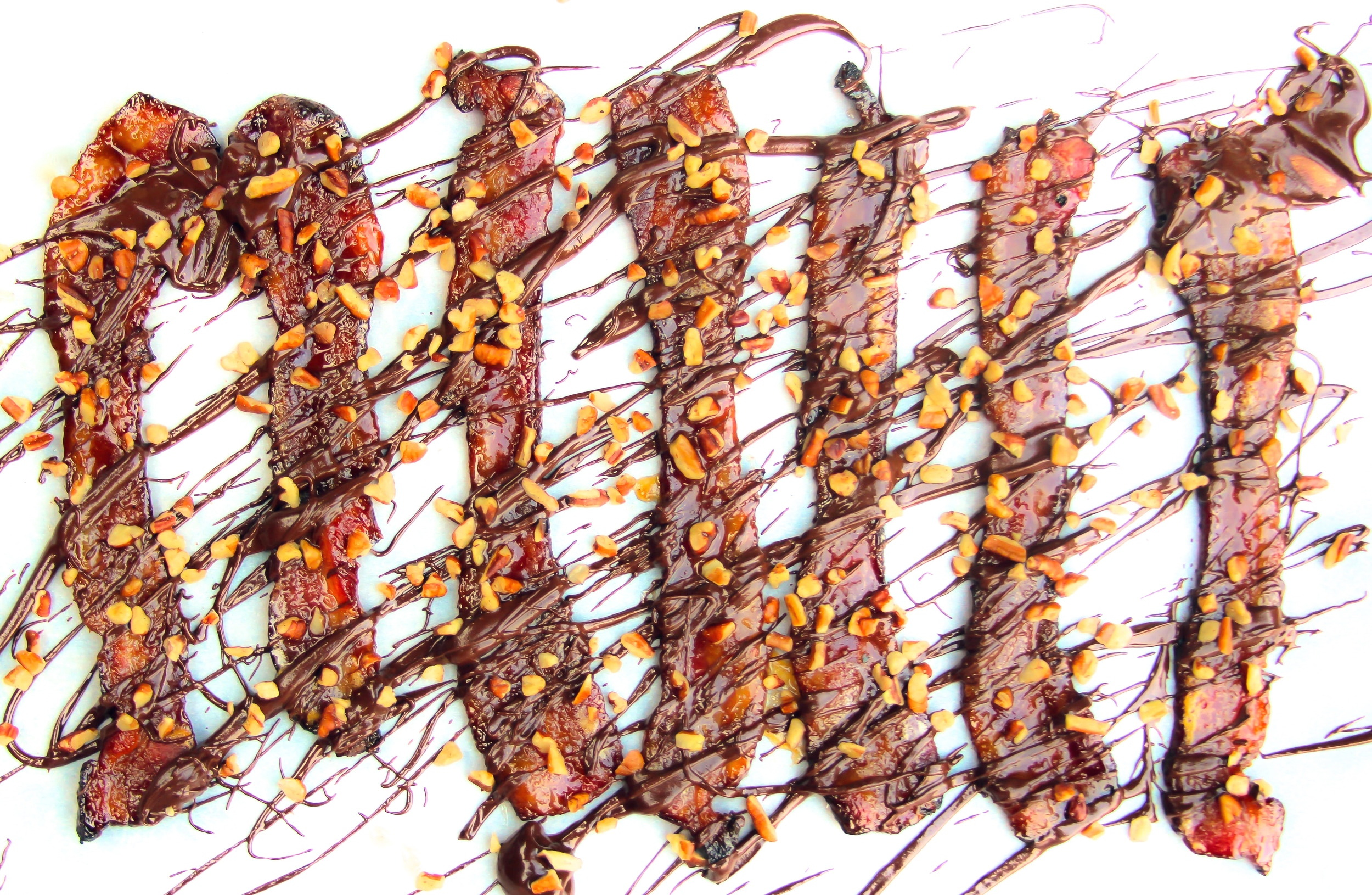 Candied Bacon with Smoked Chocolate and Pecans