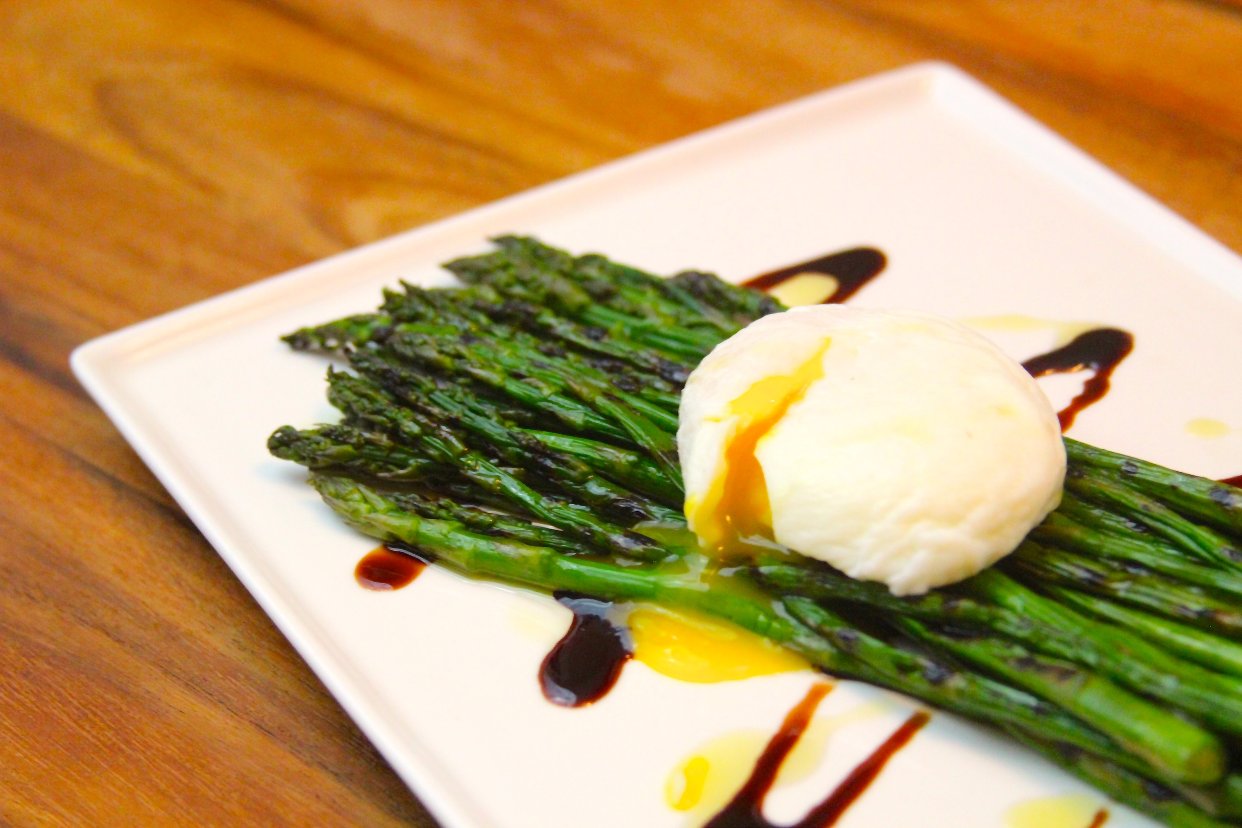 Grilled Asparagus with Smoked Poached Egg