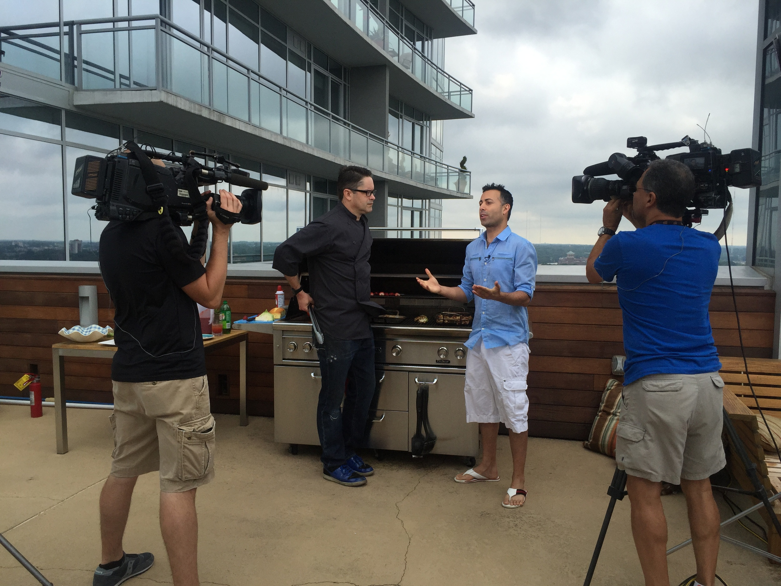 "Grillmaster Clint Cantwell and HLN ""THe Daily Share"" Host Ali Nejad"