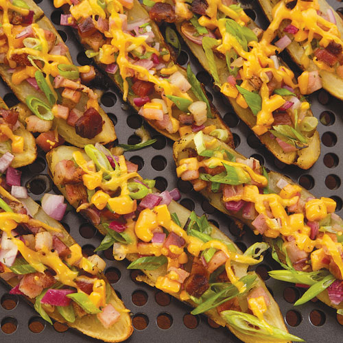 Plank Grilled Potato Skins