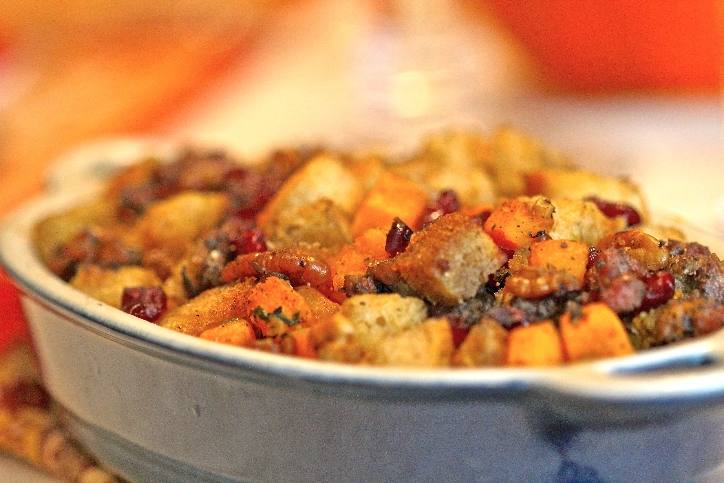 Grilled Cranberry, Squash and Rosemary Sausage Stuffing