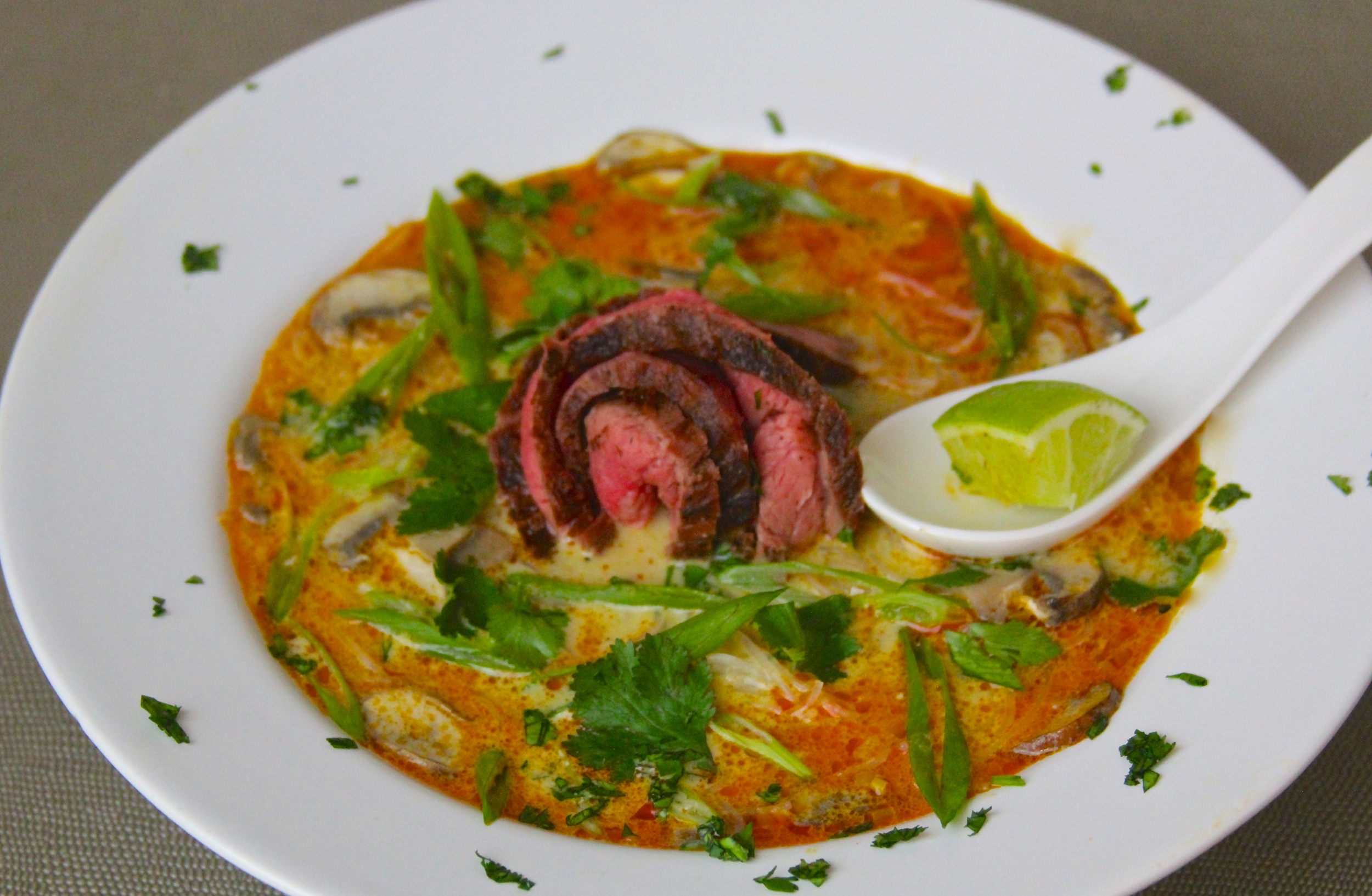 Grilled Flank Steak Thai Soup