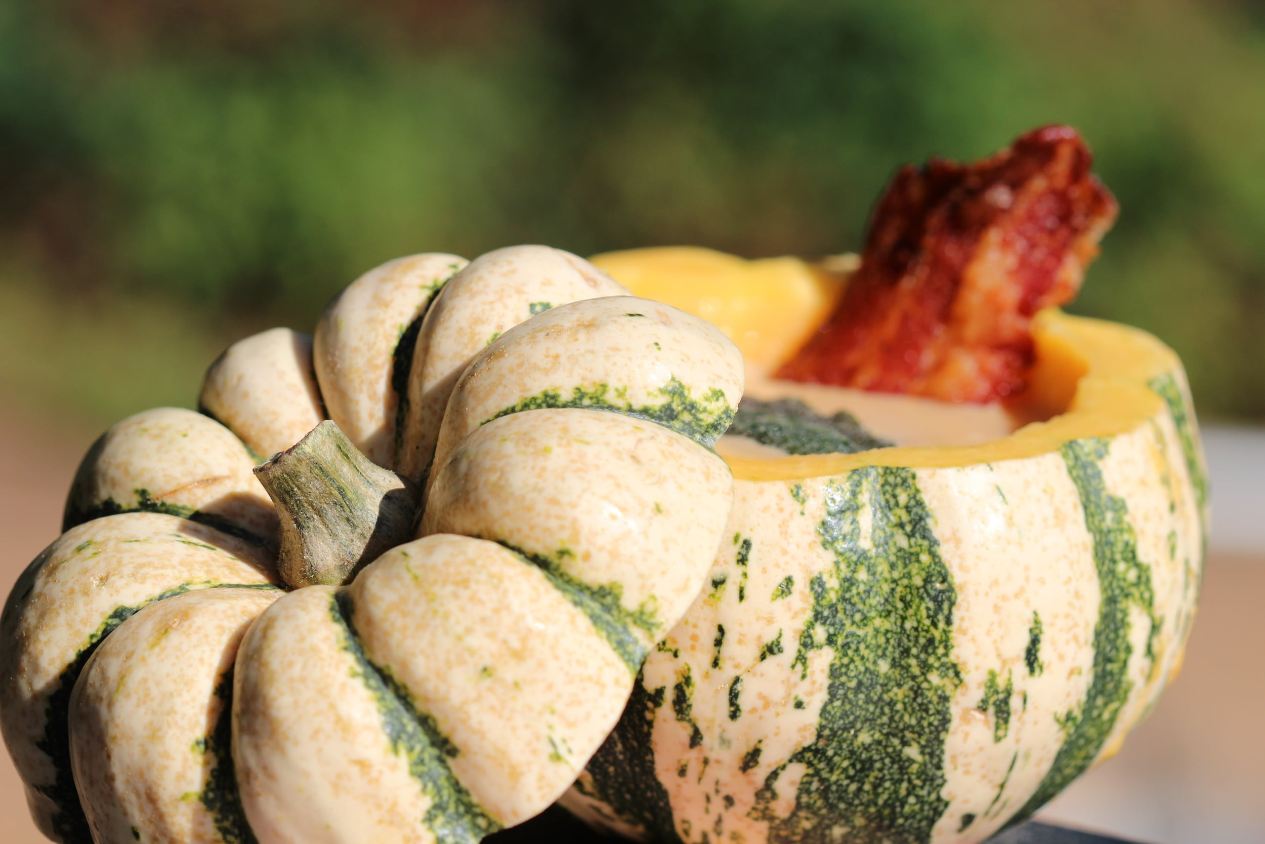 Smoked Squash Soup with Maple and Bacon