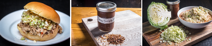 """North Carolina Pulled Pork with Tangy Tailgate Sauce and NC """"Red Slaw"""""""