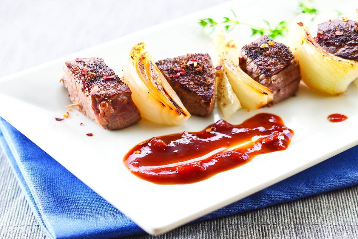 Chili and Coffee Rubbed Grilled Steak Skewers