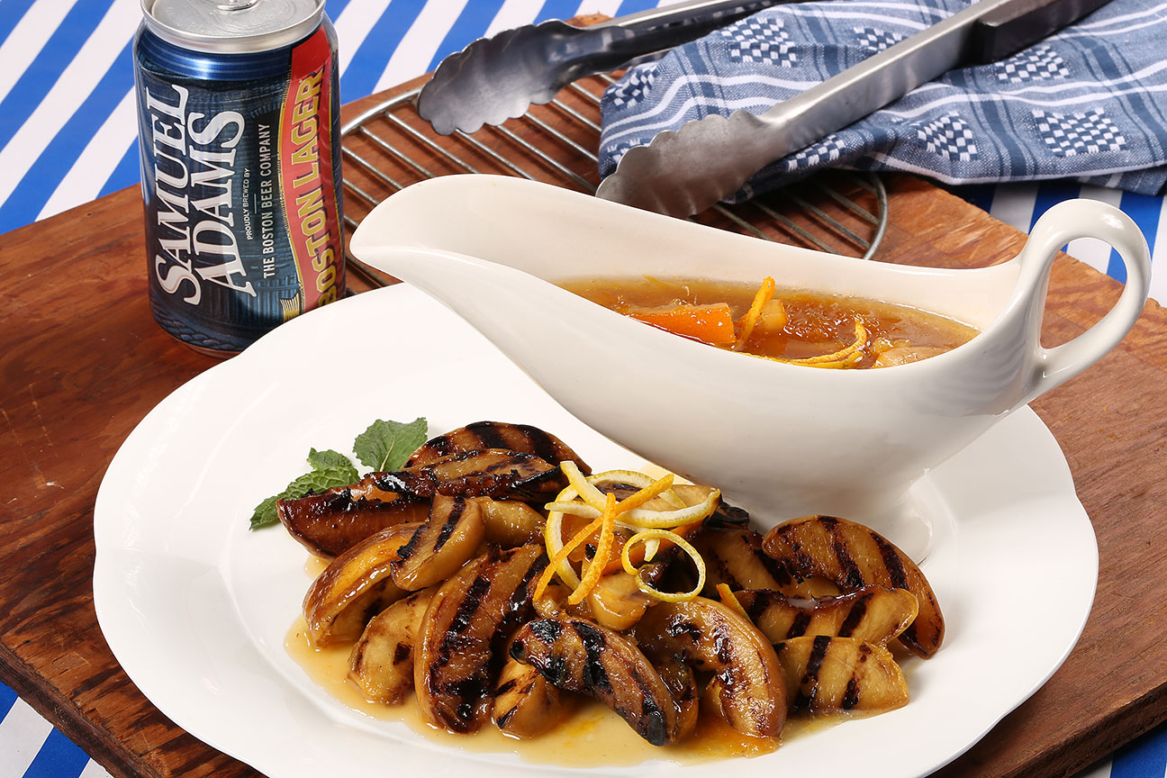Grilled Sam Adams Infused Peaches and Caramel