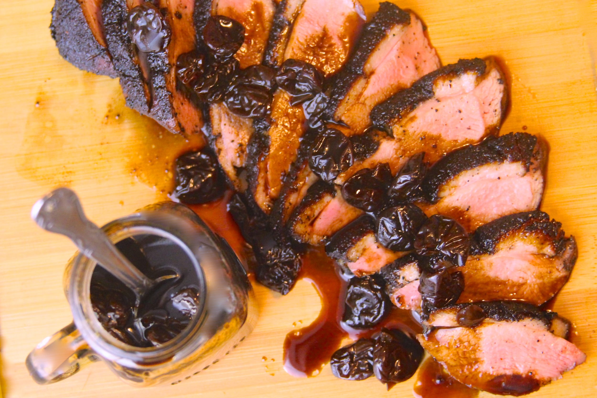 Coffee and Cocoa Crusted Smoked Duck Breast with Balsamic-Cherry Glaze