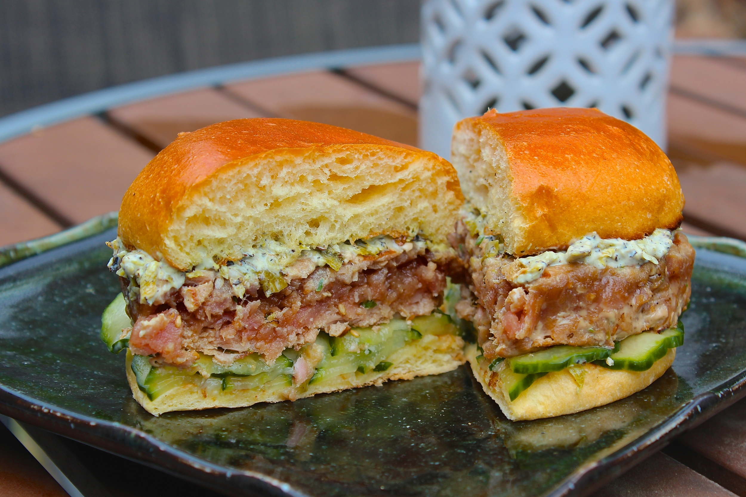 Seared Tuna Burger with Charred Shishito Pepper Mayo