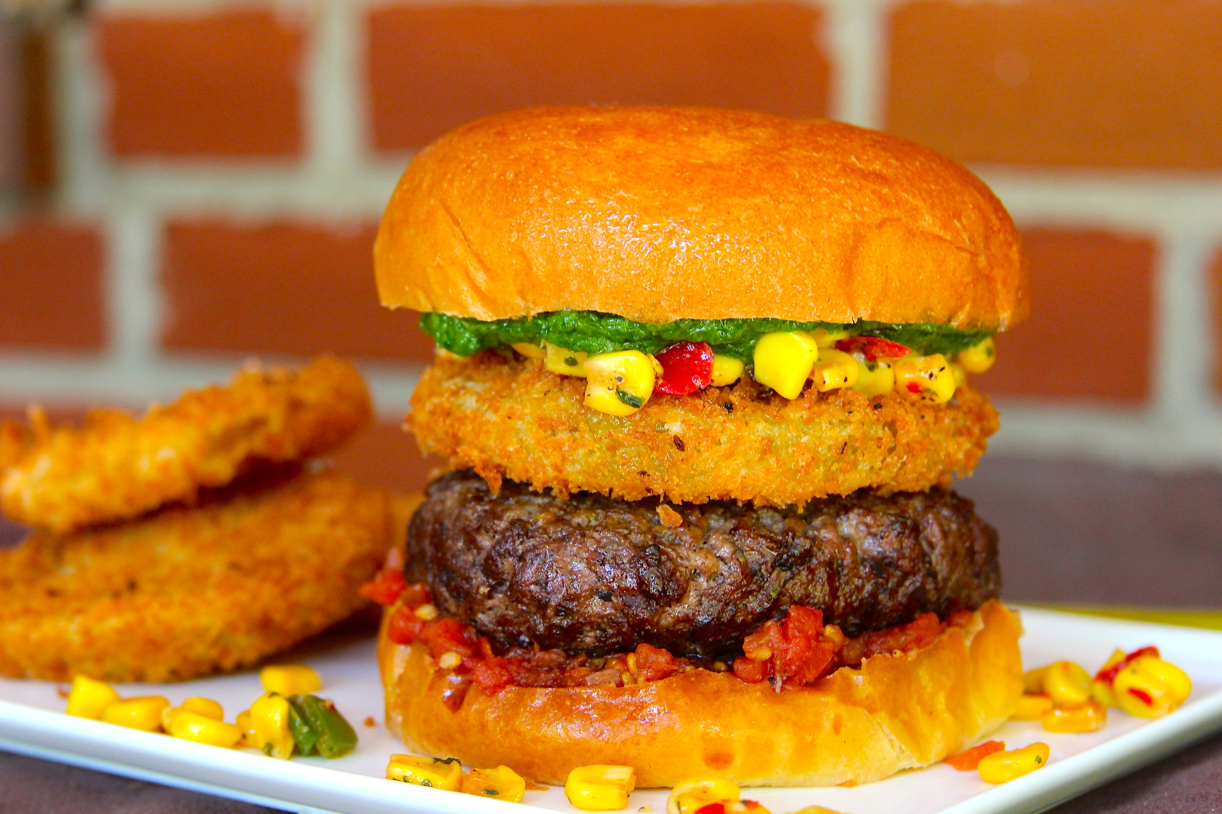 Fried Green Tomato and Corn Relish Burger