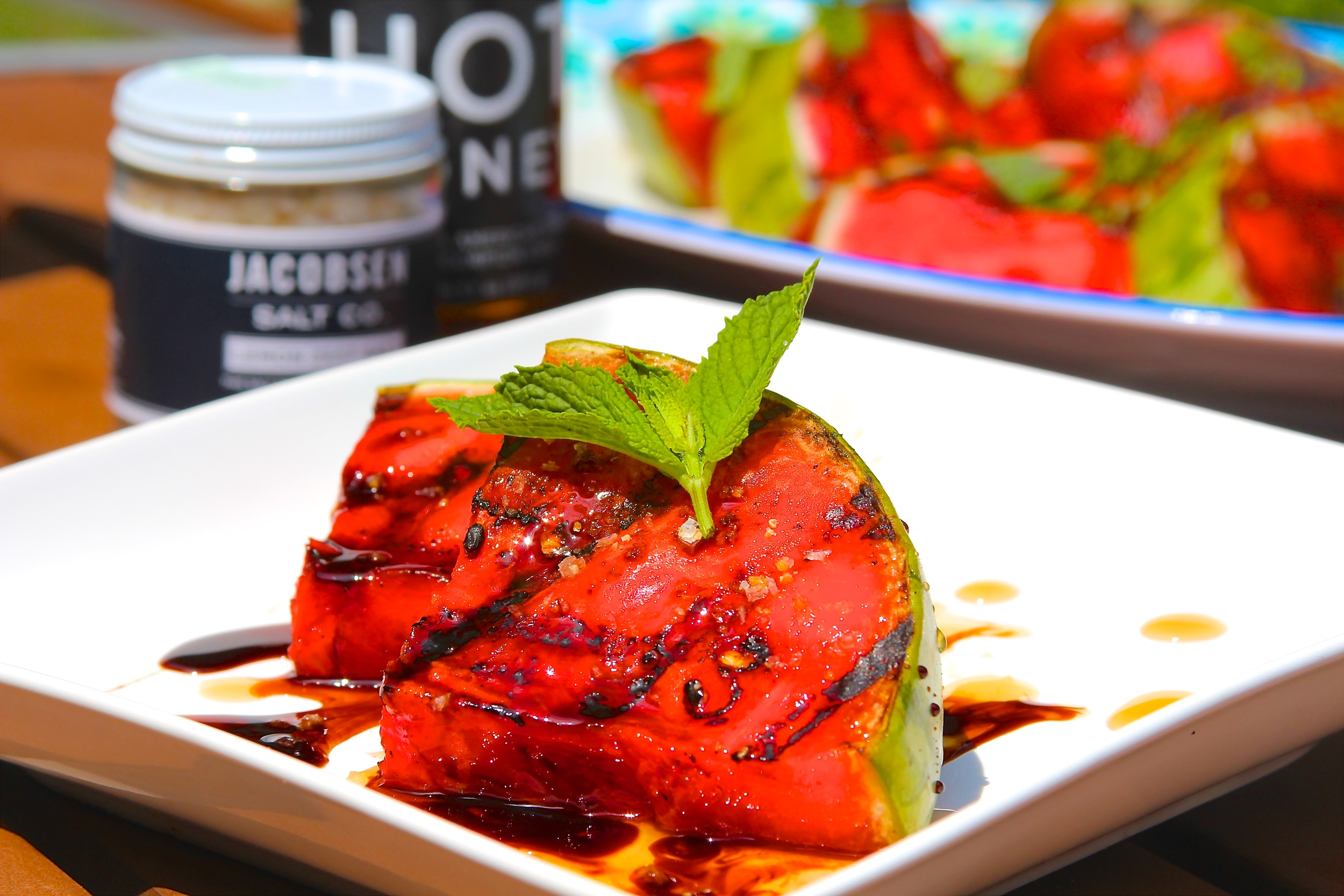 Grilled Watermelon with Hot Honey and Citrus Zest Salt