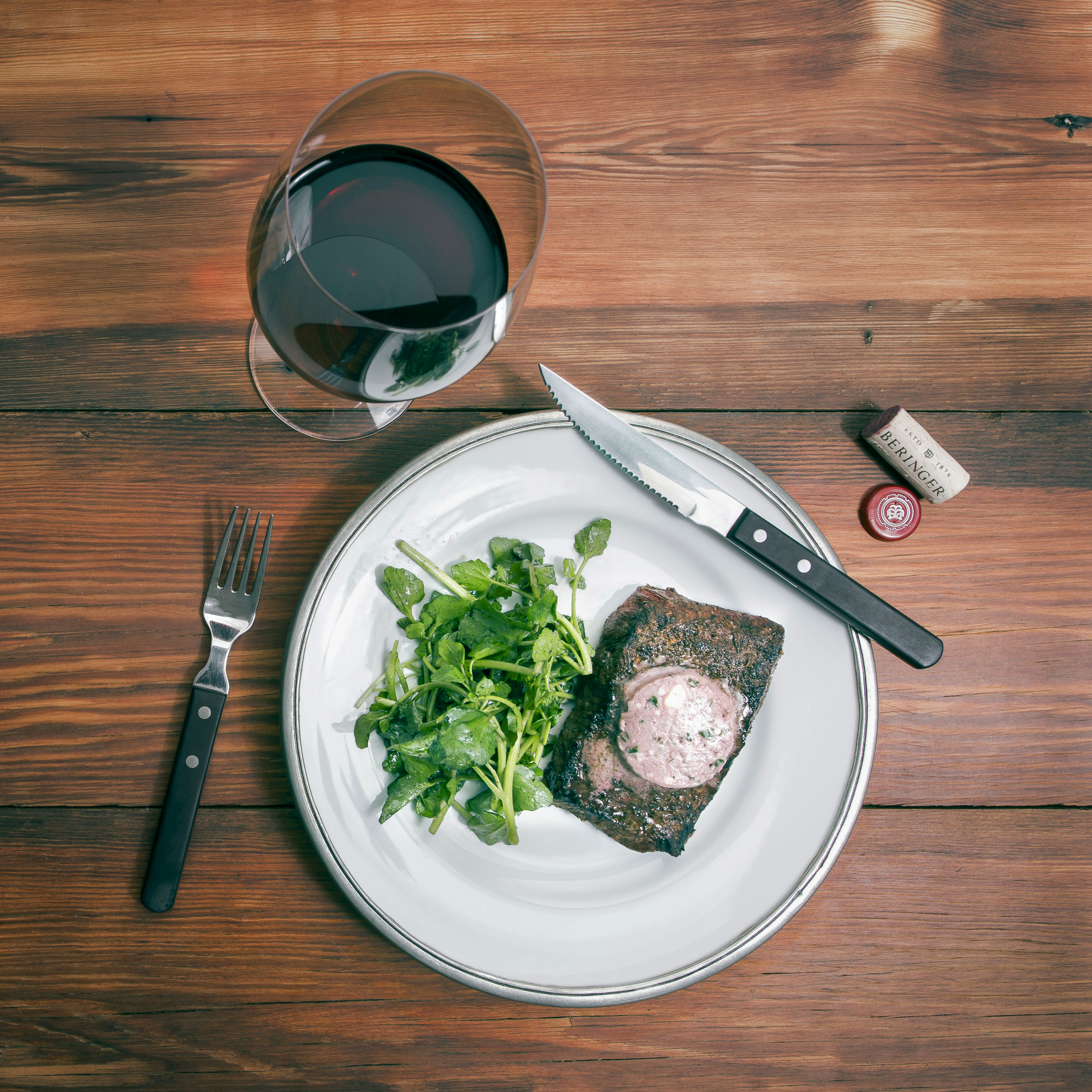 Grilled Flat Iron Steak with Red Wine Blue Cheese Butter