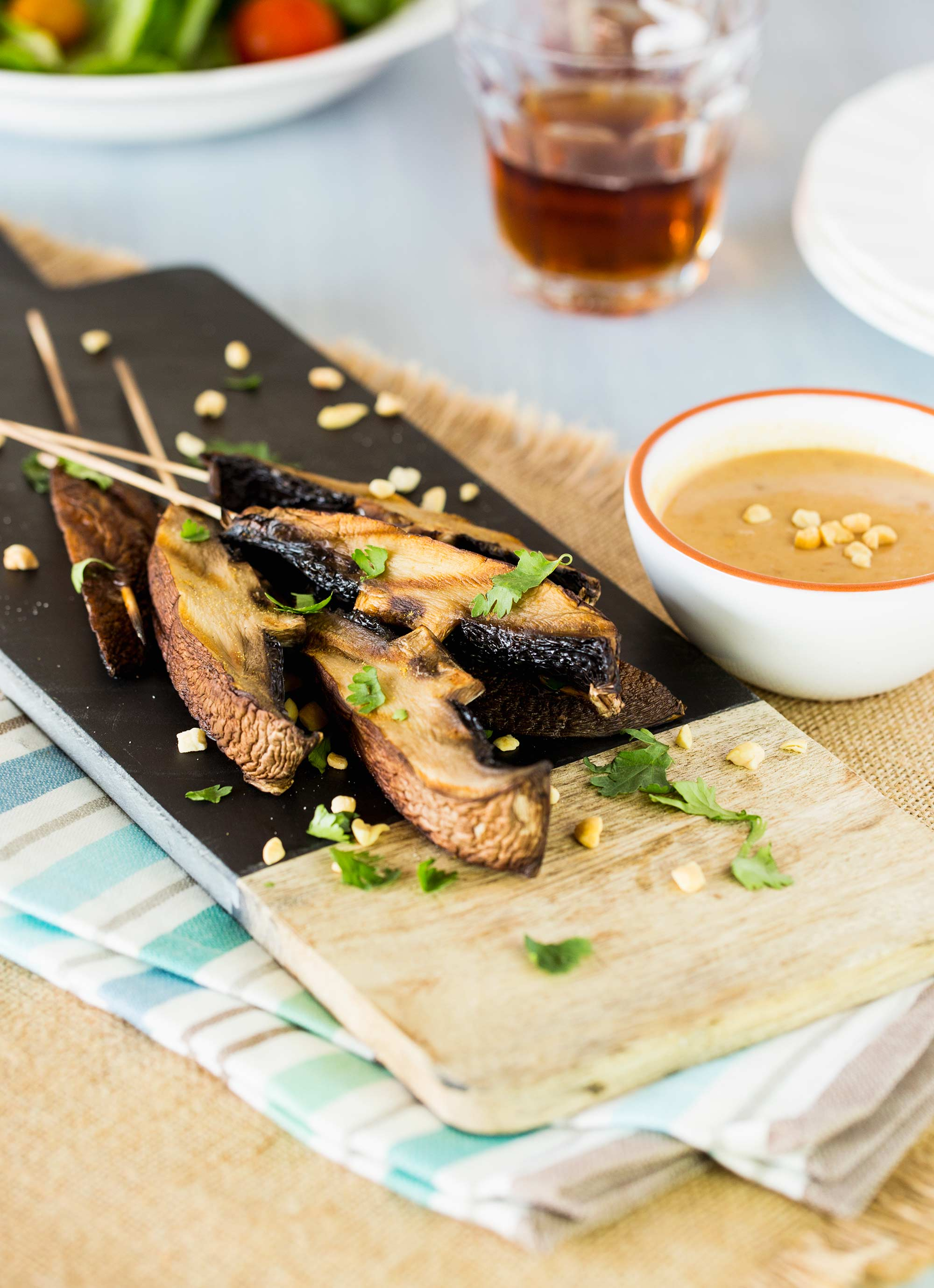 Grilled Portobello Satay with Spicy Peanut Sauce