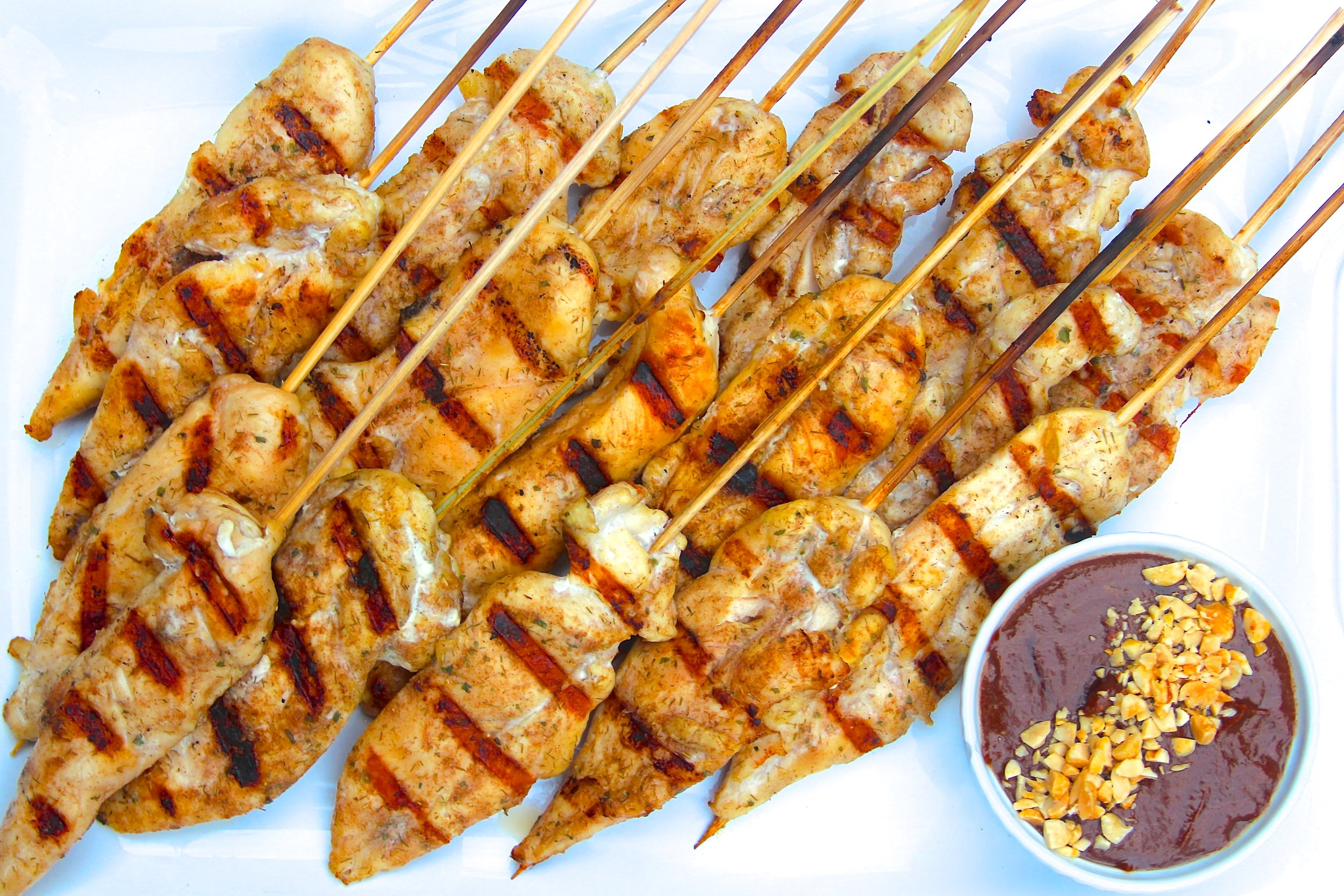 Thai Coconut Chicken Skewers with Peanut Dipping Sauce