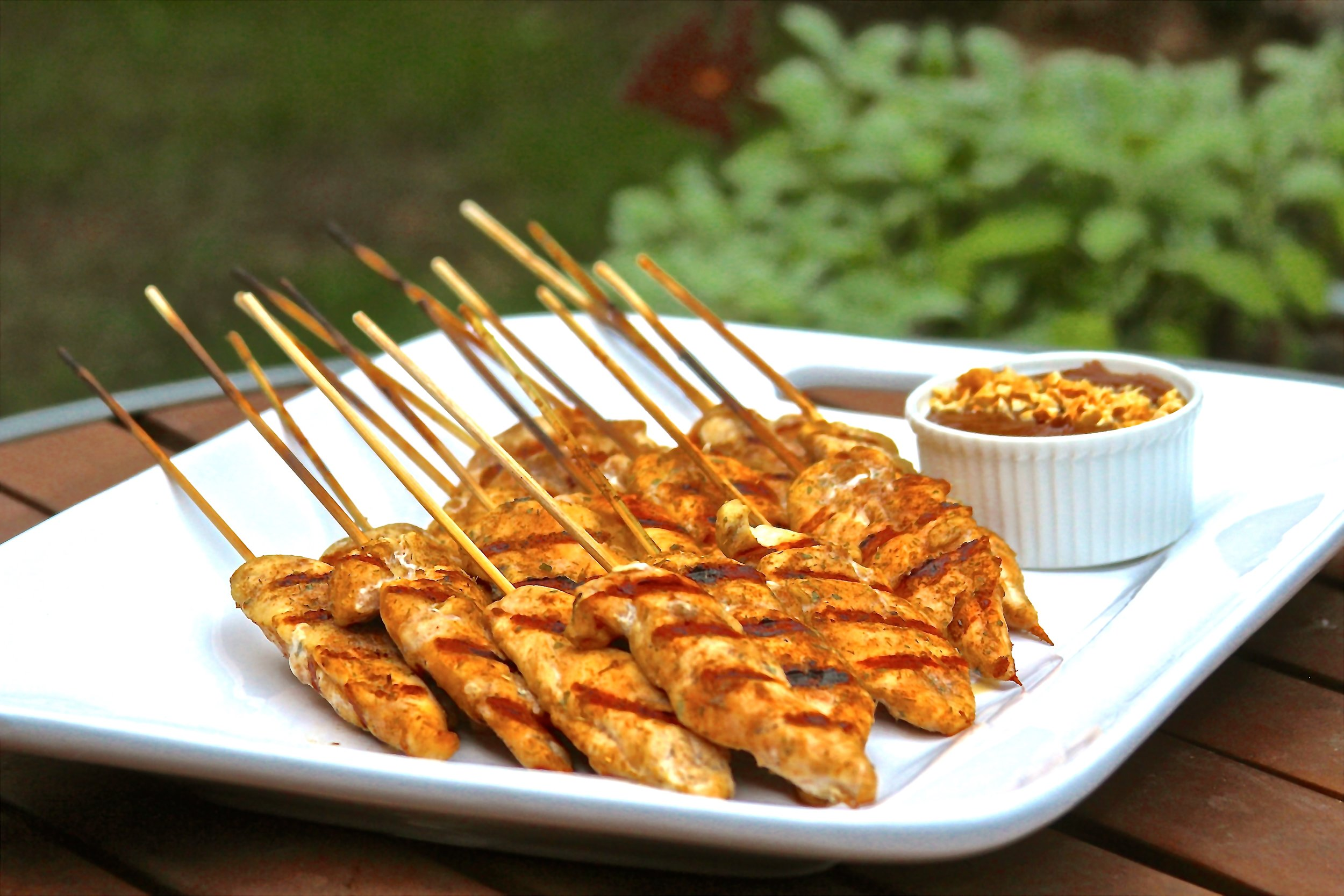 Thai Coconut Chicken Skewers with Peanut Sauce