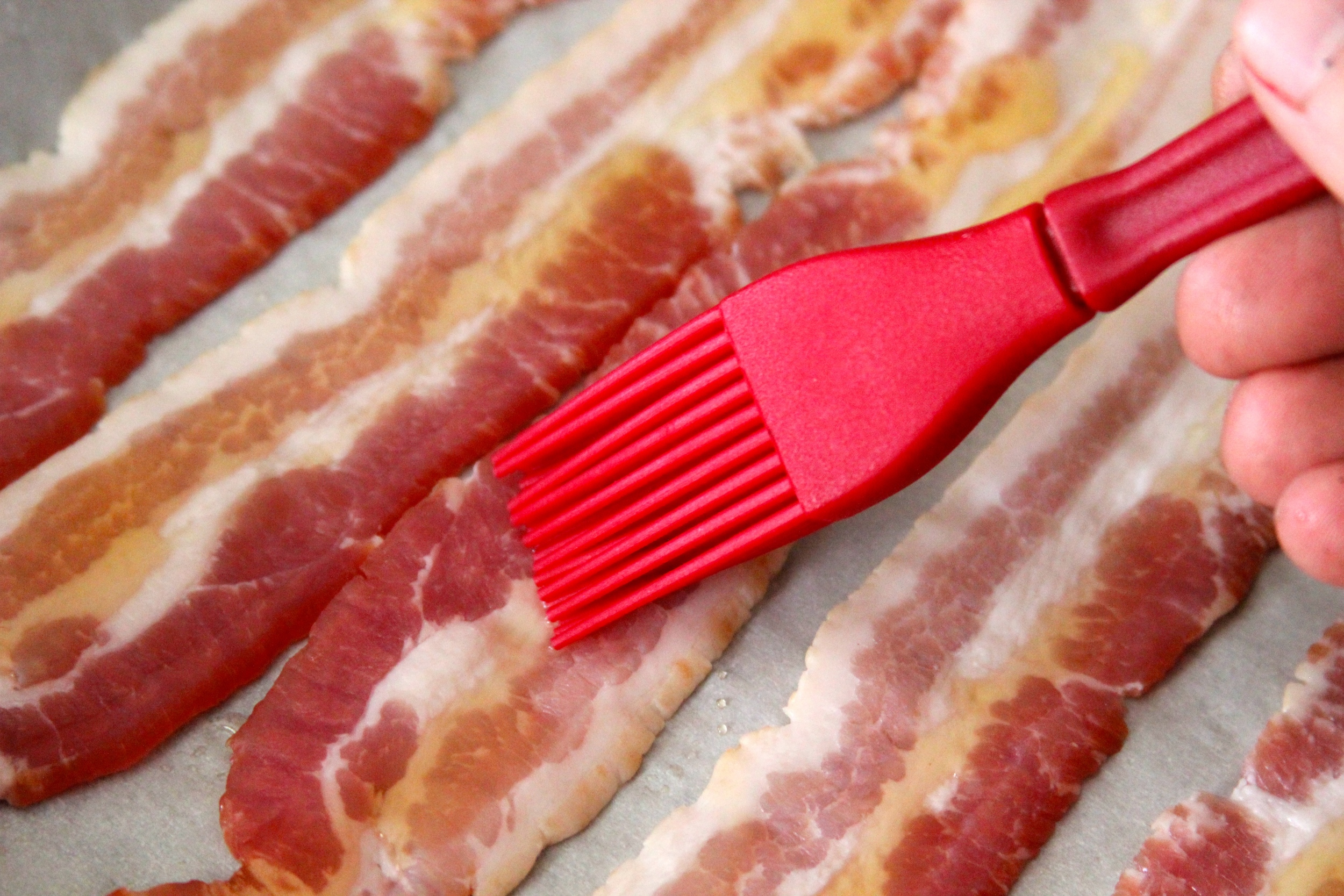 Brush Bacon with Honey or Agave Syrup