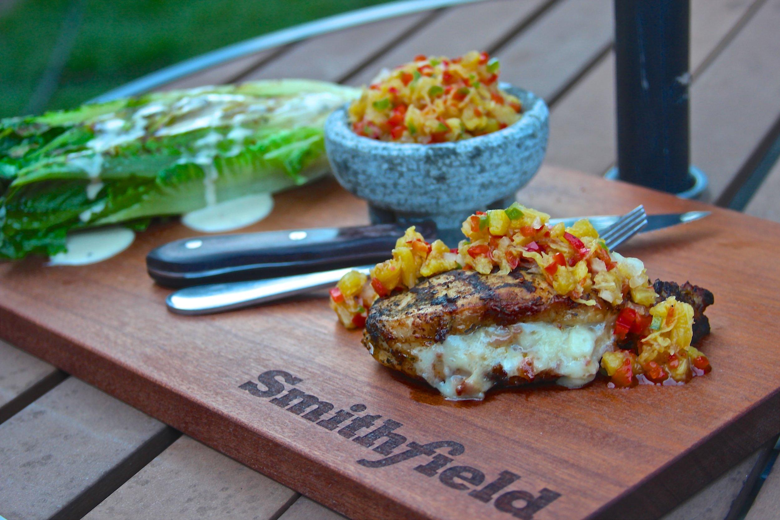 Stuffed Smithfield Roasted Garlic and Herb Pork Chops
