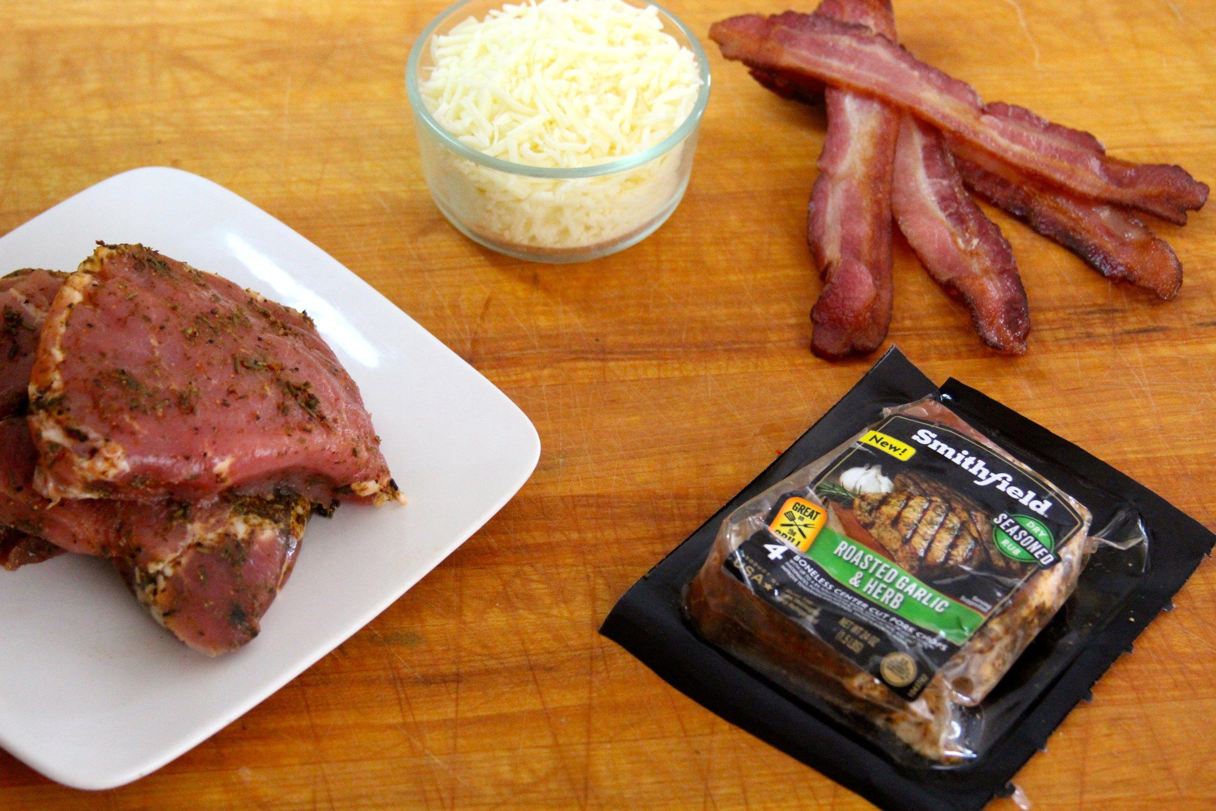 Smithfield Marinated Pork Chop, Mozzarella, and Bacon