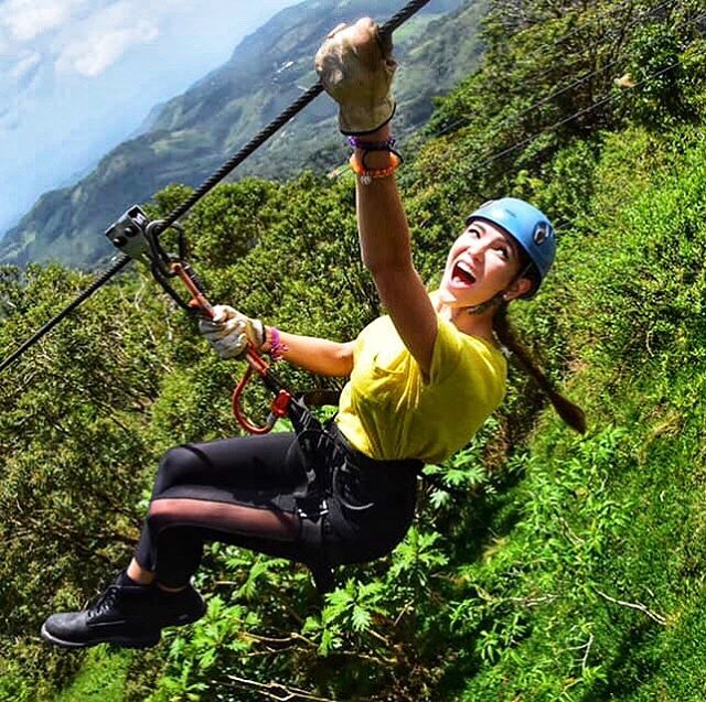 Happily plunging into my next adventure.  Introducing — the longest zip line in Costa Rica 😎💥