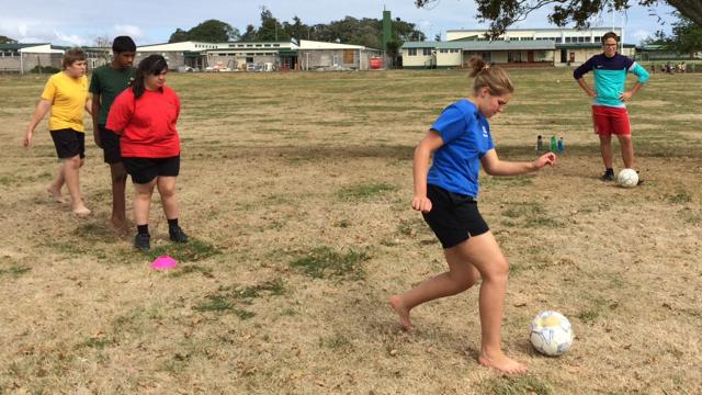 Soccer skills coaching at Tuakau College