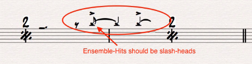 Ex 11. Do not confuse note-heads on drum notation. In this case, these ensemble-hit indications should be slash-heads. These X-heads could be confused as cymbal notation.