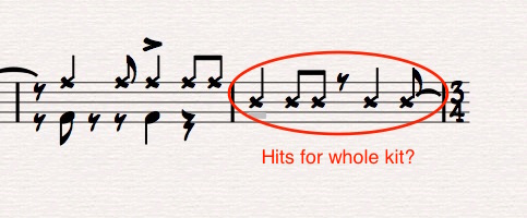 Ex 13. Mid-staff drum notation is likely indicating whole-kit hits (as opposed to a time pattern)of which X-heads could be confused as snare or rim notation. These should be slash-notation, as below.