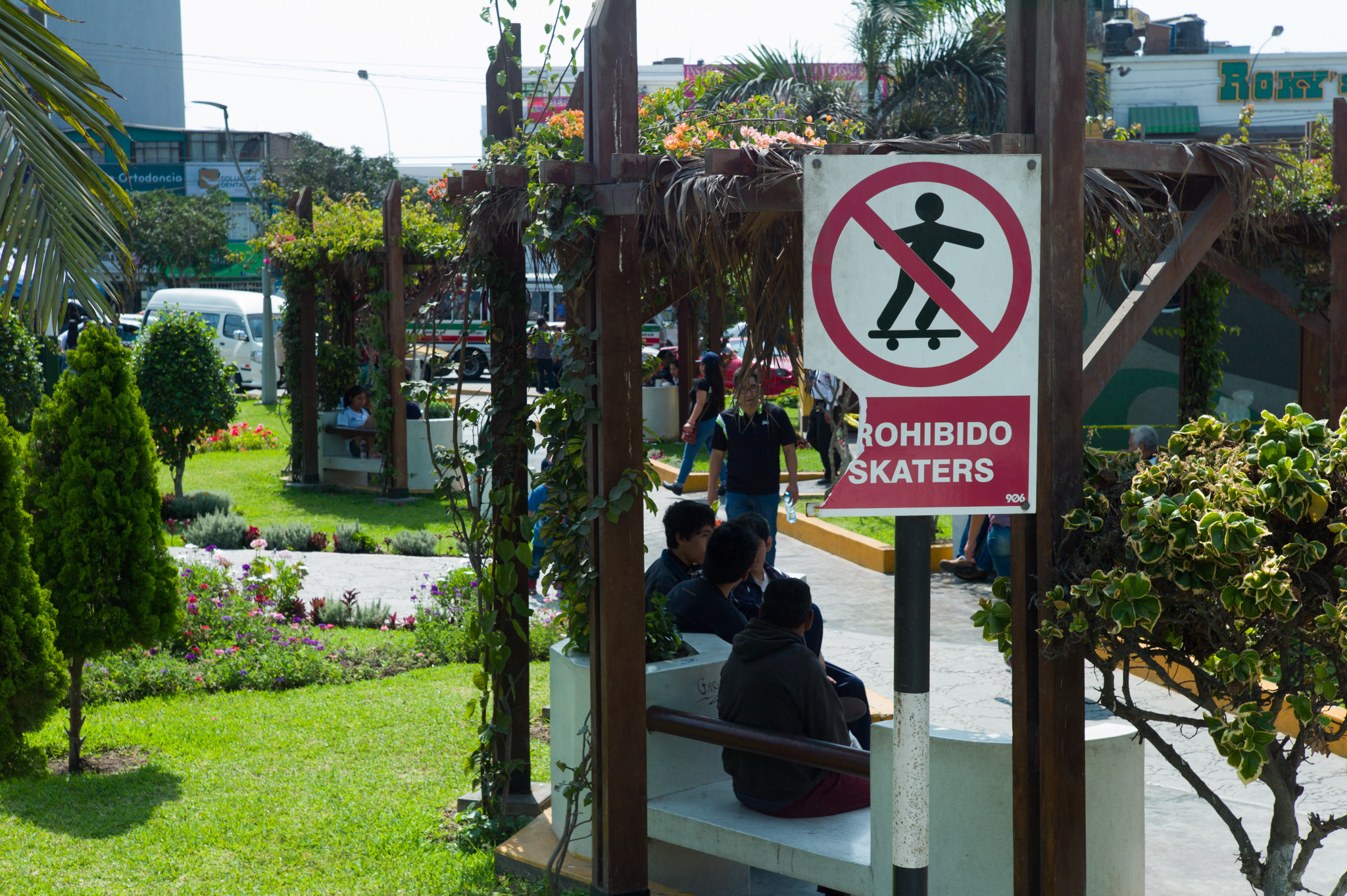 """Main district plaza, adjacent to Los Olivos's municipality. """"Skaters forbidden."""""""