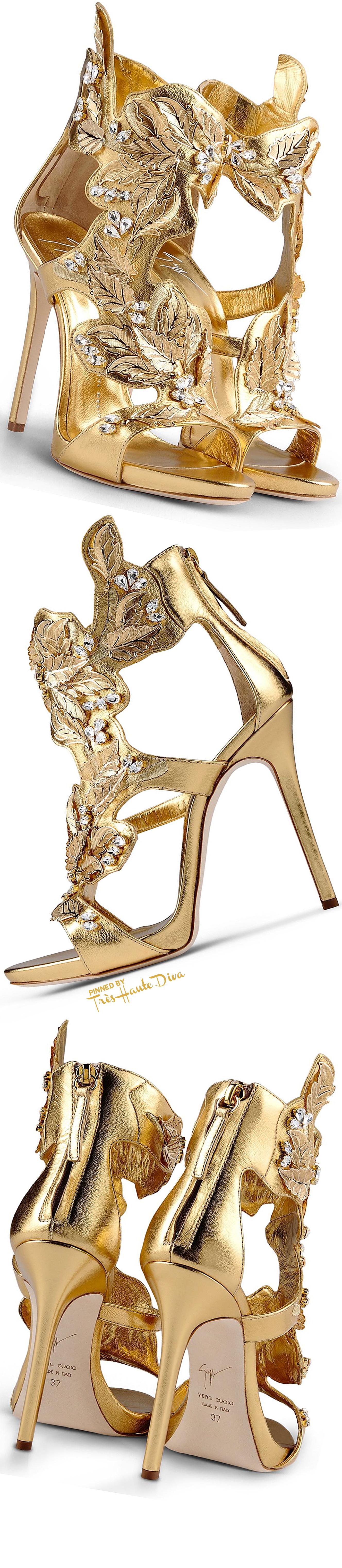 Giuseppe Zanotti Gold and Rhinestone Embellished Nappa Leather Sandals