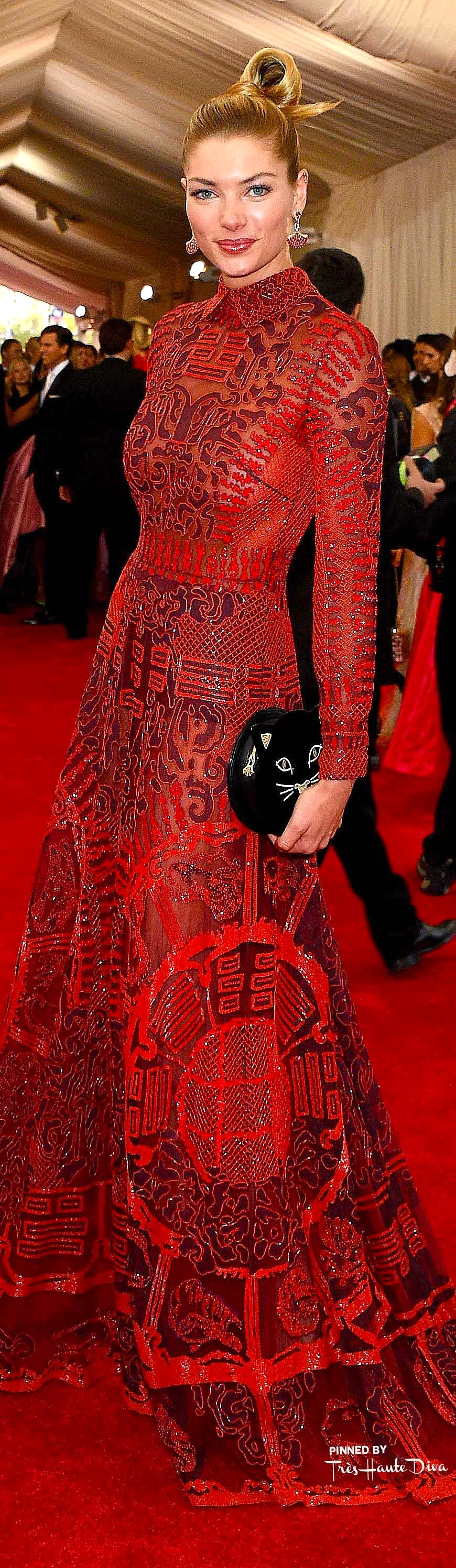 Jessica Hart in Valentino and Stura earrings Getty Images/ Larry Busacca