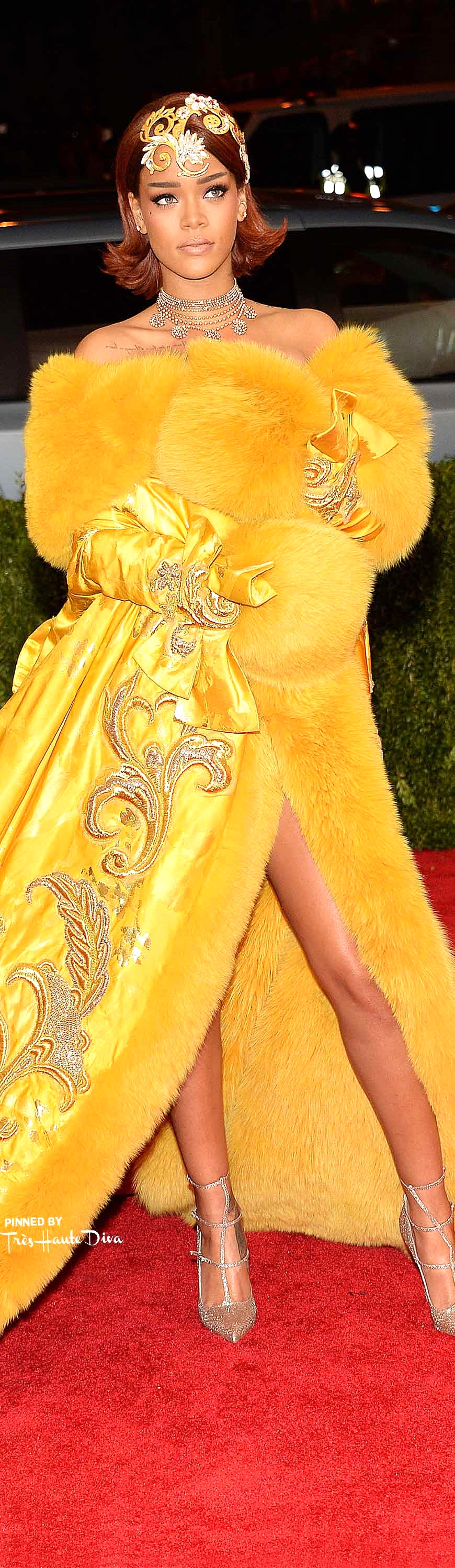 Rihanna in Guo Pei Couture, Louboutin Shoes  Getty Images/ Kevin Mazur