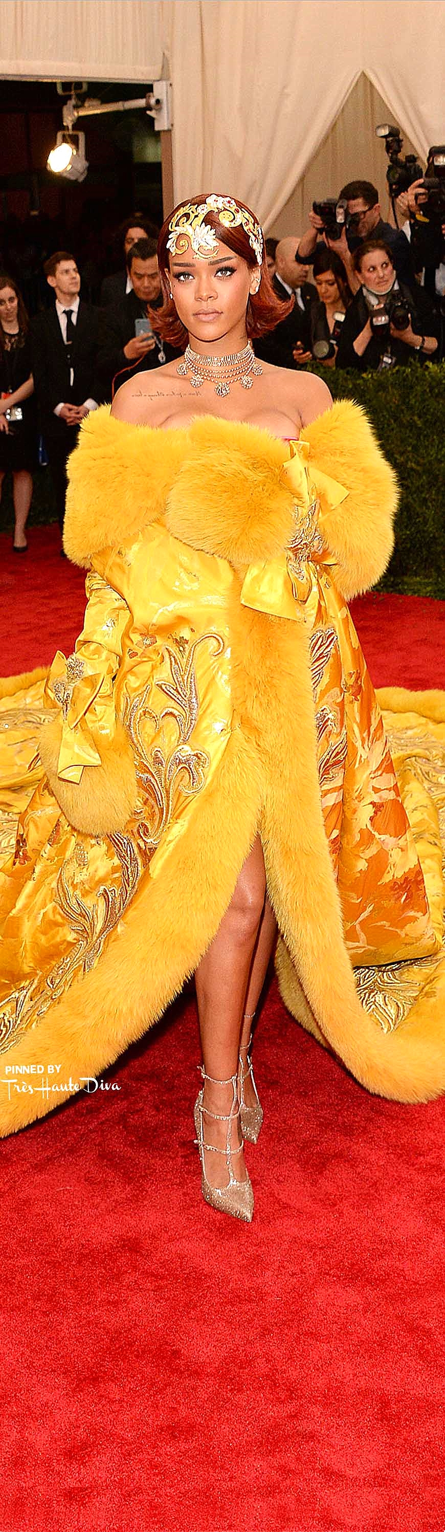 Rihanna in Guo Pei Couture and Louboutin Shoes   Getty Images / Kevin Mazur