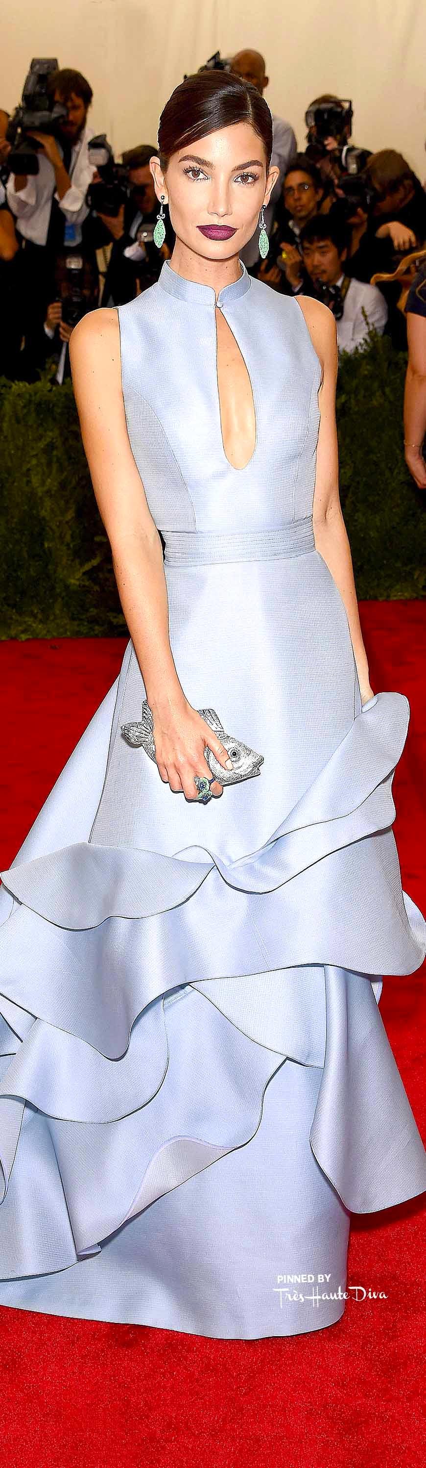 Lily Aldridge in Carolina Herrera Getty Images/ Dimitrios Kambouris