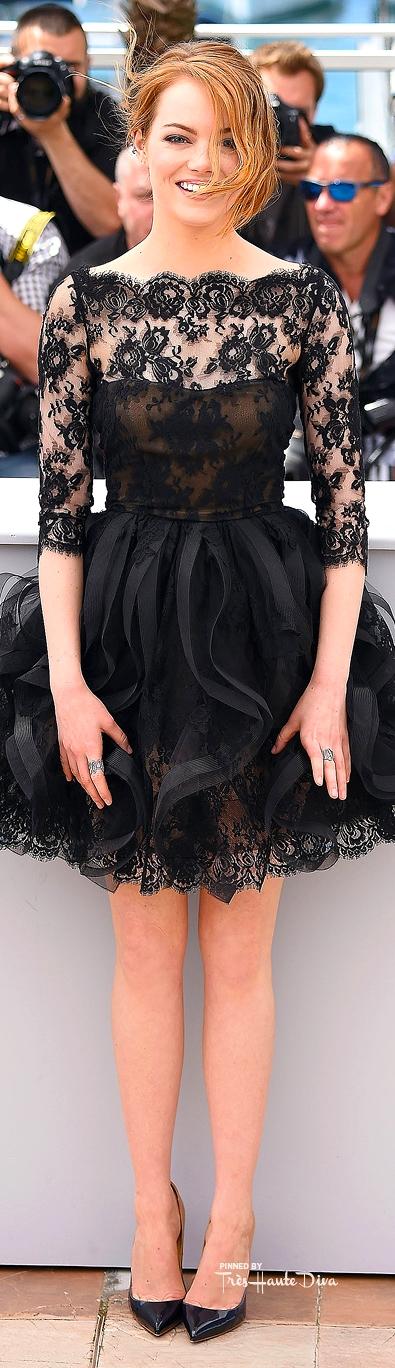Emma Stone in Oscar de la Renta and Christian Louboutin ombré pumps
