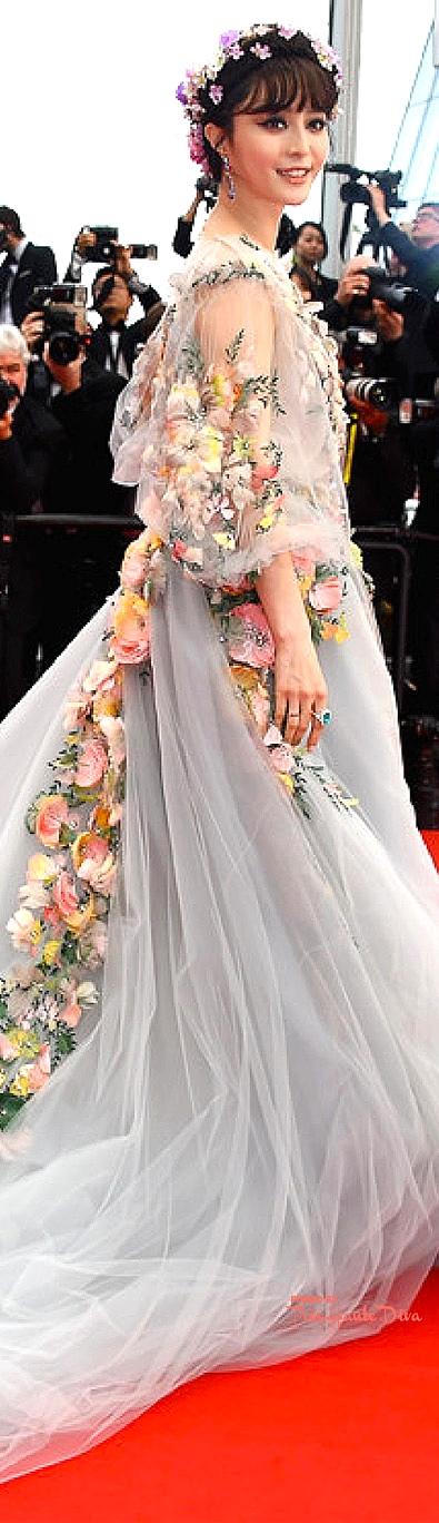 Fan Bingbing in a V-neck tulle Marchesa gown
