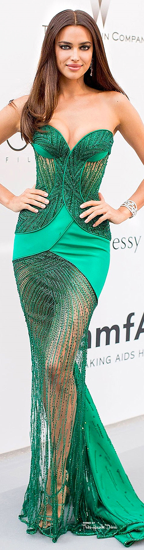 Irina Shayk in Atelier Versace with Harry Winston jewels vogue.uk.com/ Getty