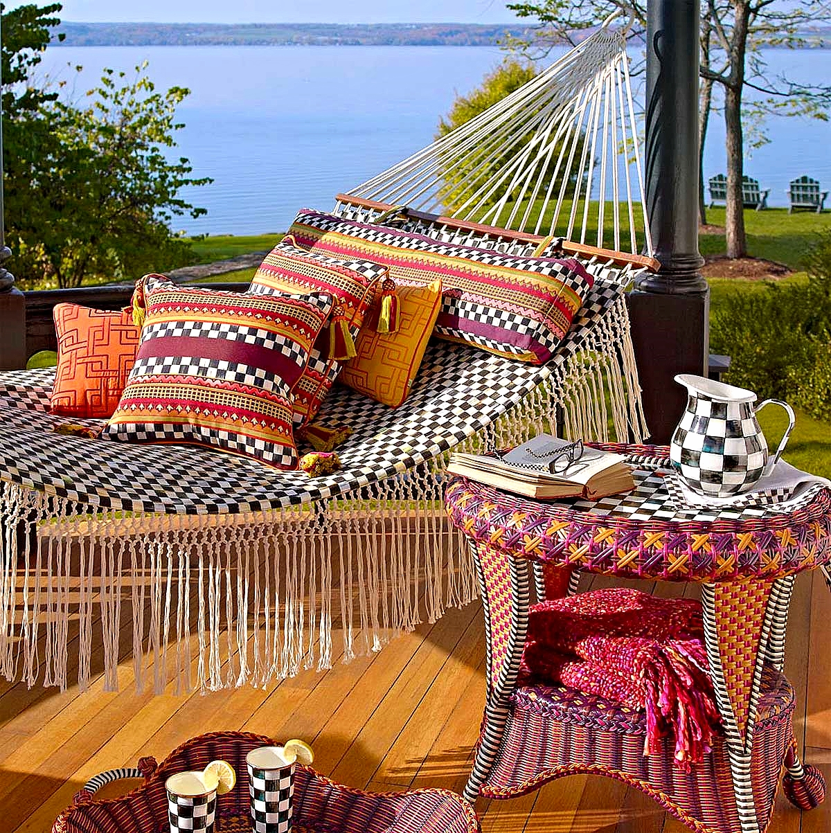 Courtly Check Hammock, Sunset Outdoor Throw Pillow, Sunset Outdoor End Table