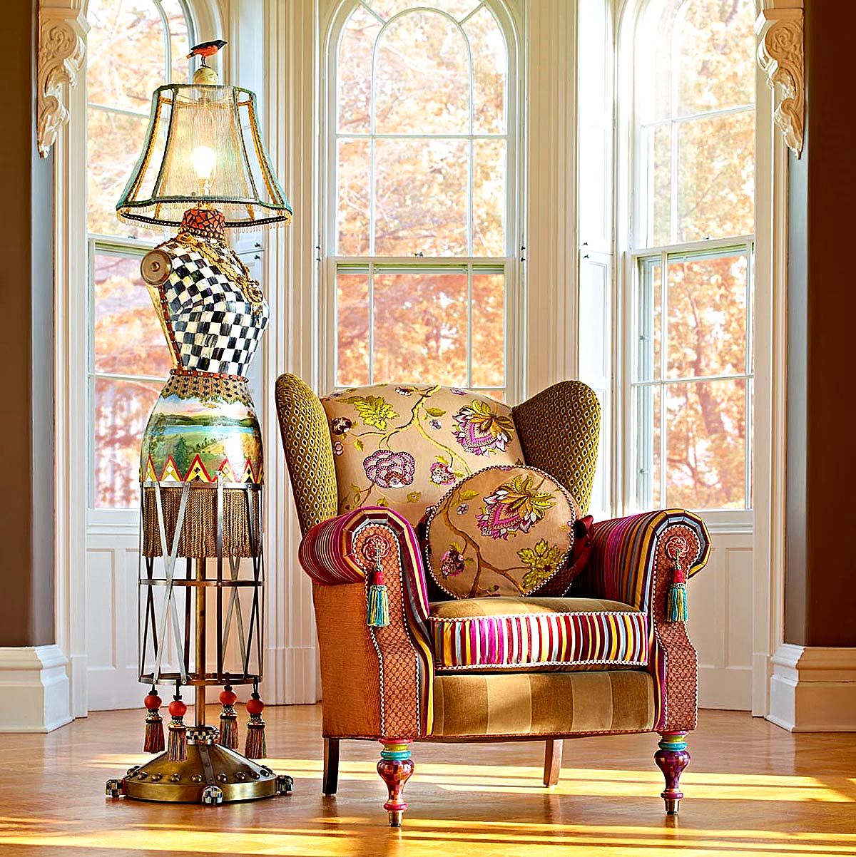 Bittersweet Wing Chair & Dressmaker's Floor Lamp